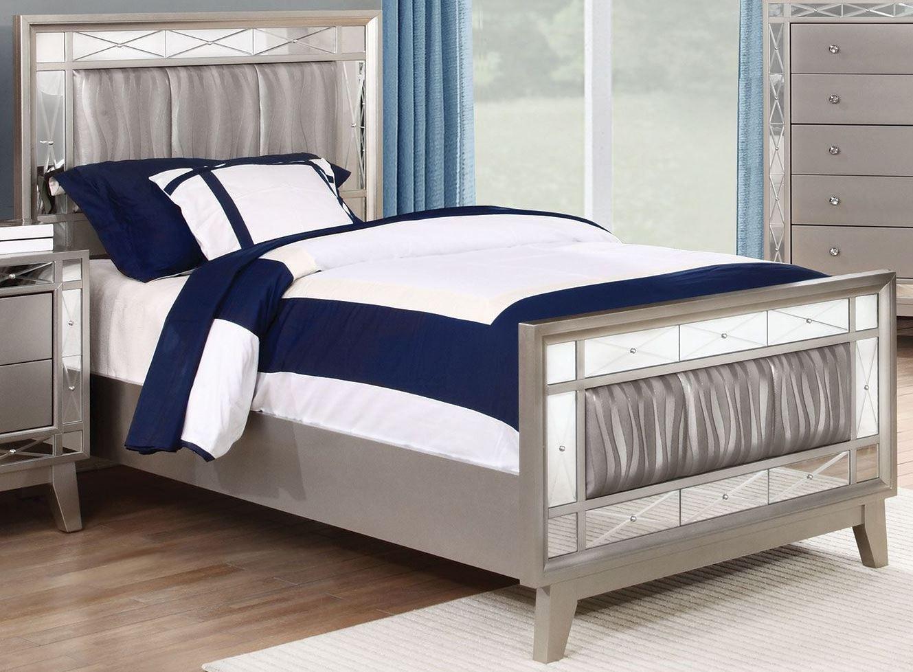 leighton metallic mercury full panel bed 204921f coaster