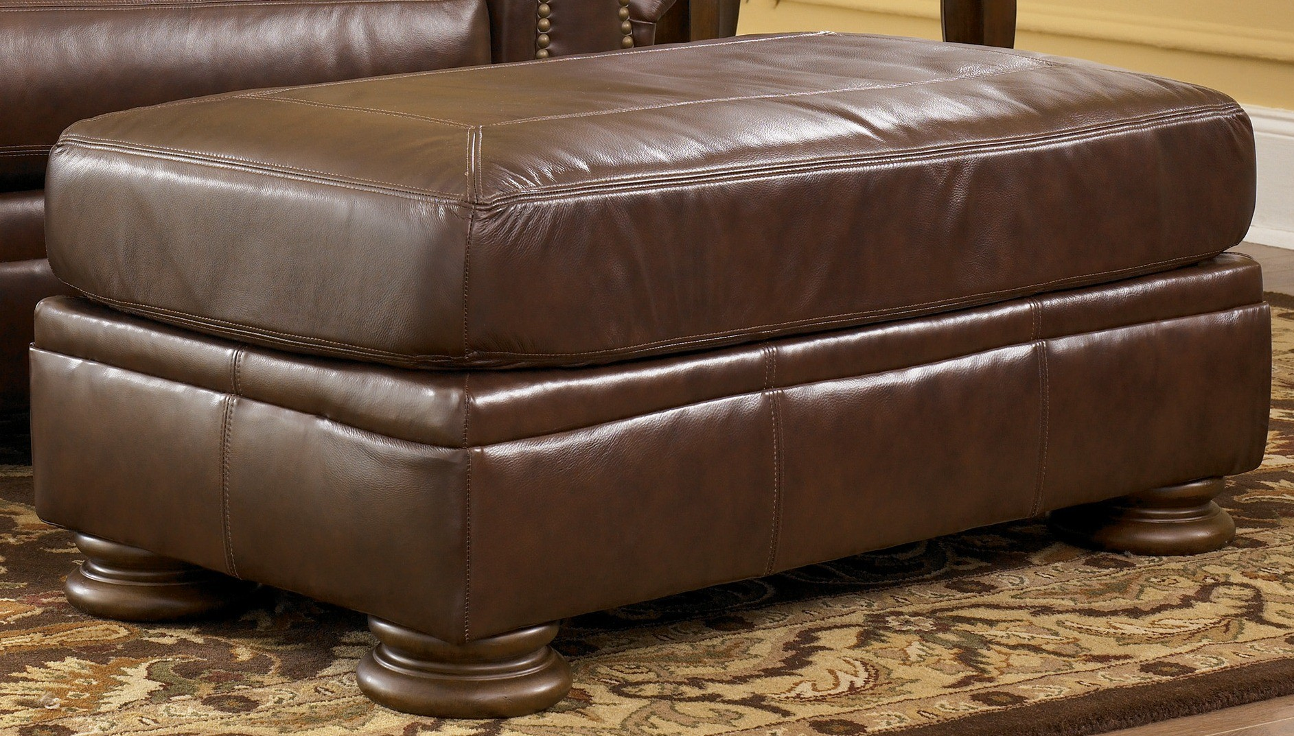 Palmer Walnut Ottoman By Ashley Furniture 2050014 Leather Ottoman