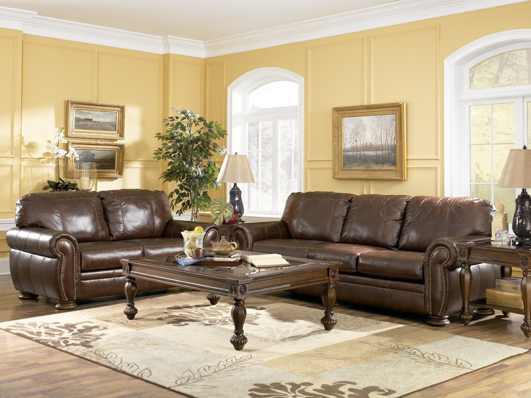 Palmer Walnut Living Room Set By Ashley Furniture 20500 Leather Living Room