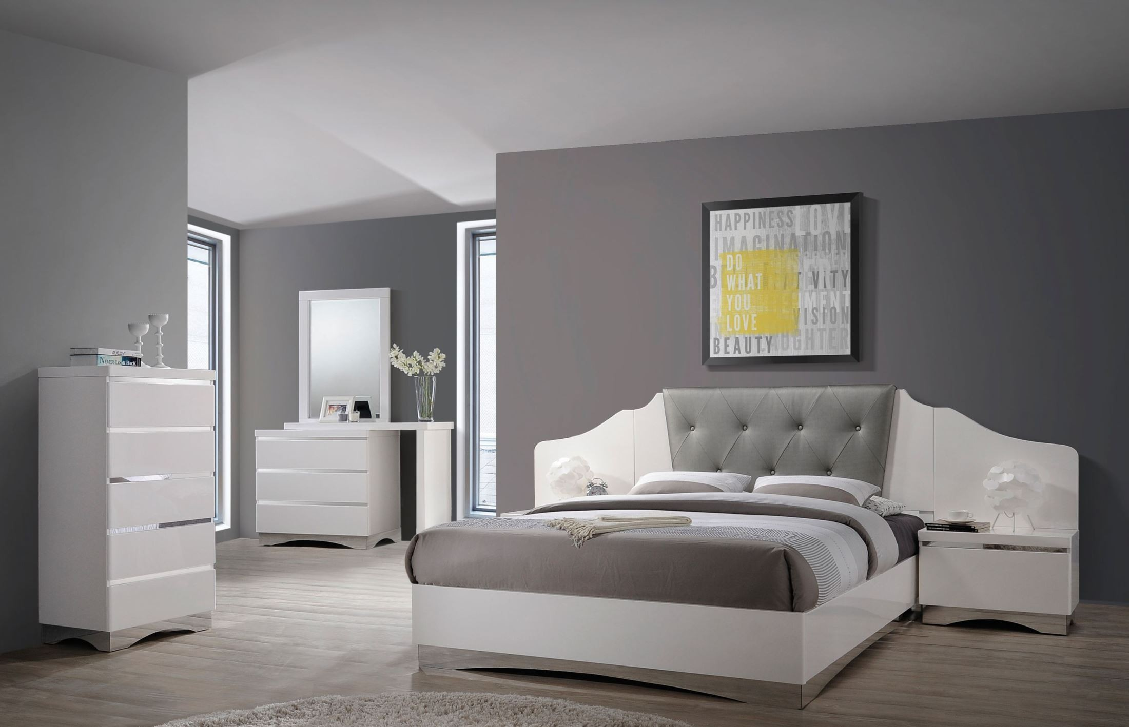 Alessandro Glossy White Platform Bedroom Set Q Coaster Furniture