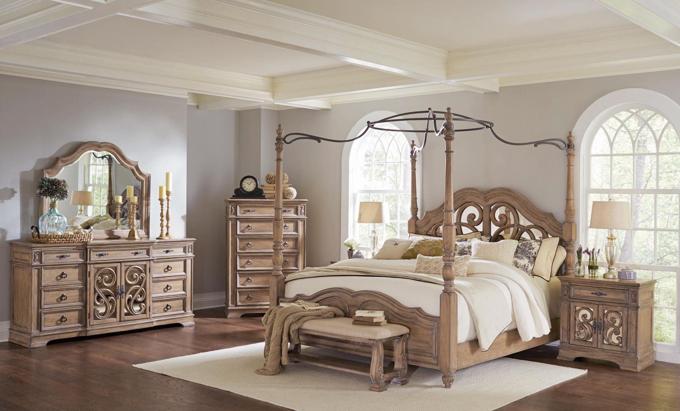 Ilana antique linen poster bedroom set 205071q coaster for Poster bedroom sets