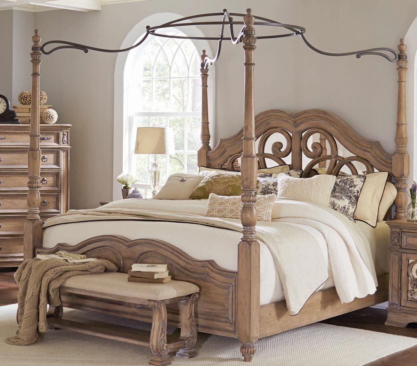 Ilana antique linen poster bedroom set 205071q coaster furniture for Annifern poster bedroom collection