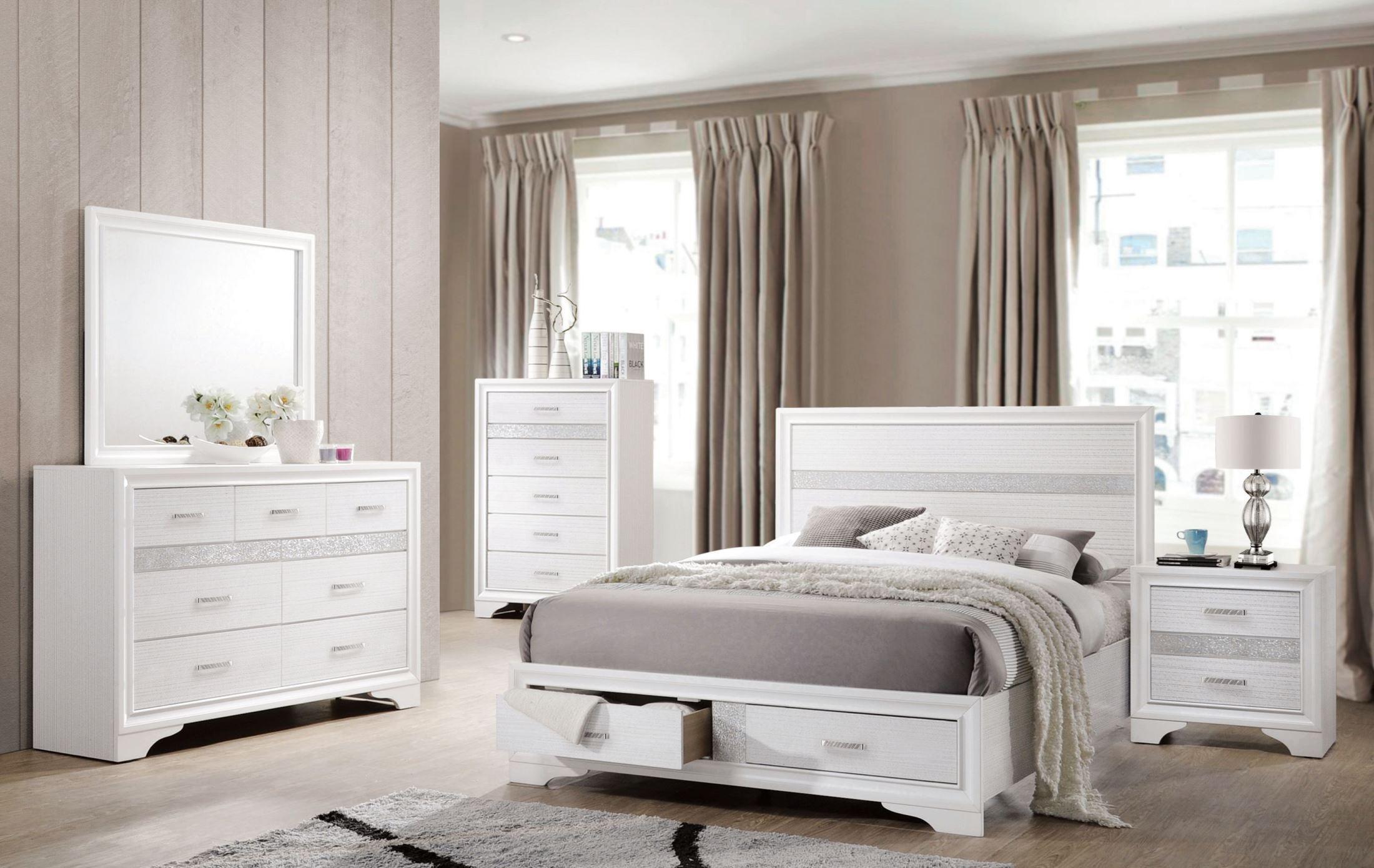 miranda white queen storage platform bed 205111q coaster furniture