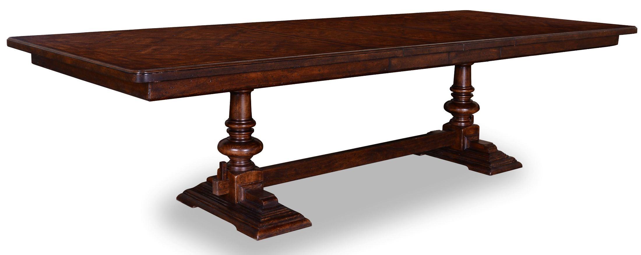 Whiskey barrel oak trestle dining room set from art for Dining room tables trestle