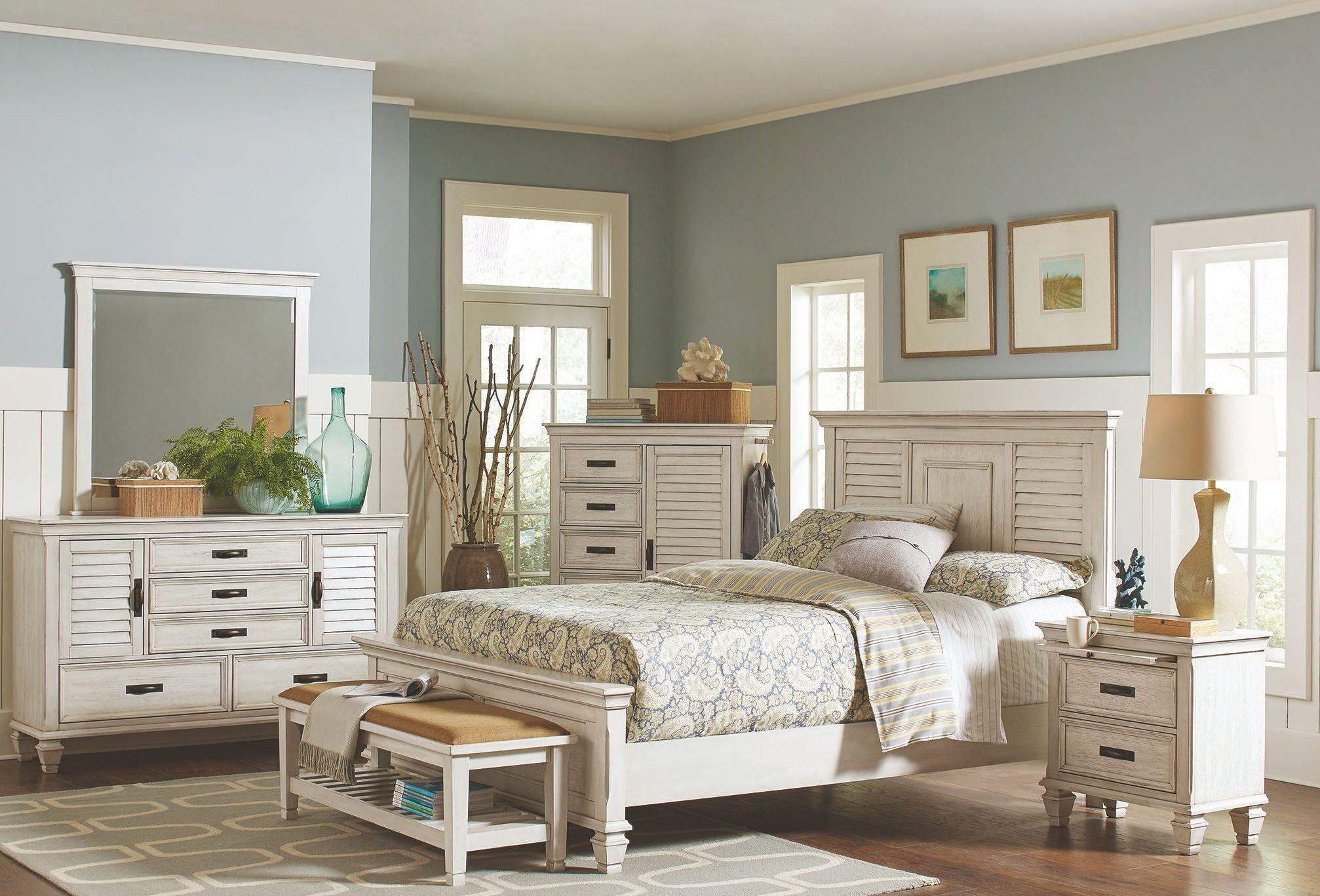 liza antique white panel bedroom set 205331q coaster furniture