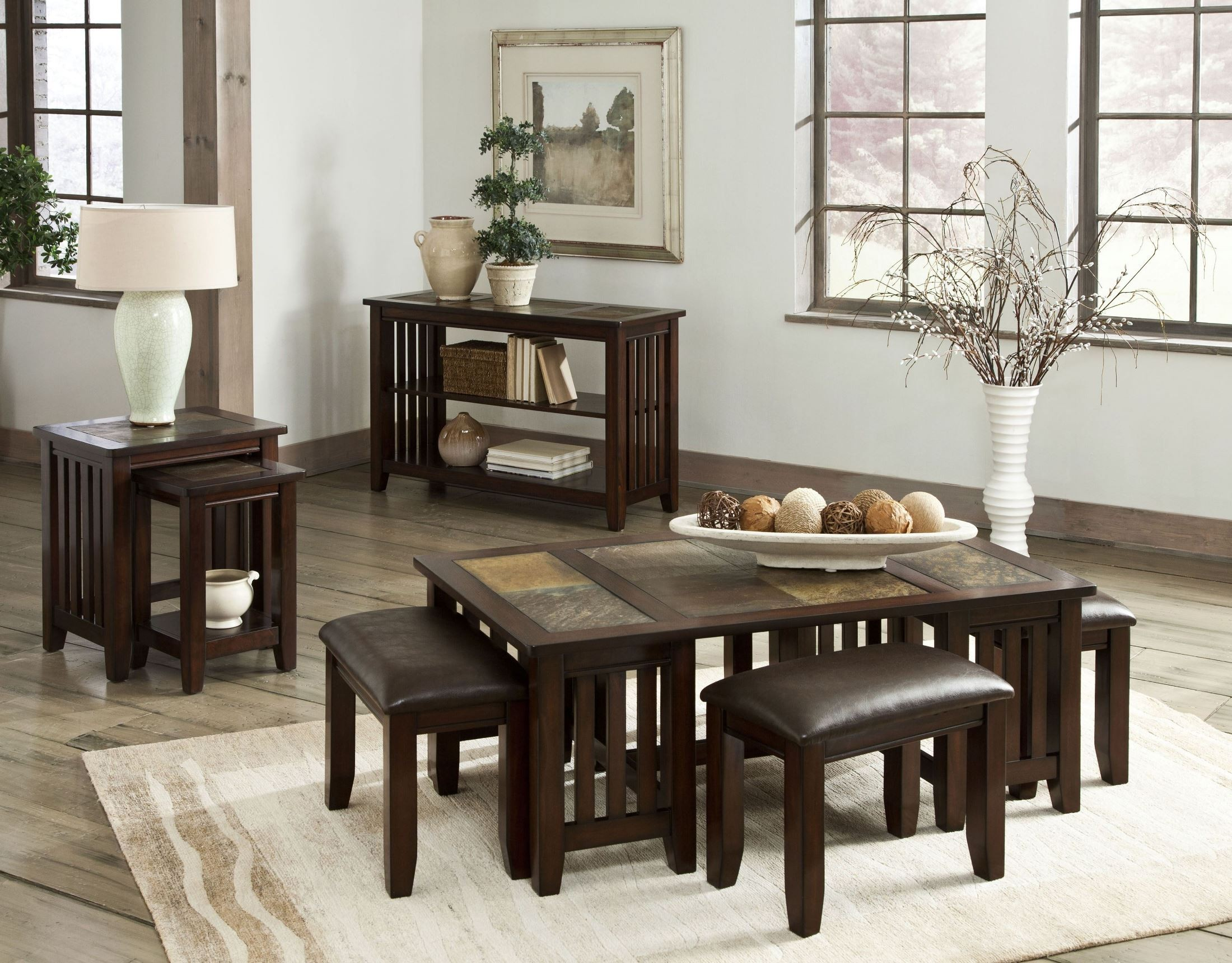 Napa Valley Brown Oak Nesting Table 20654 Standard Furniture