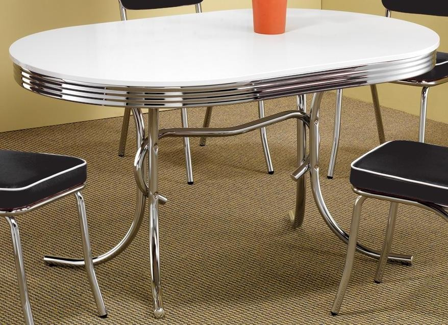 White Oval Retro Dining Table 2065 From Coaster 2065 Coleman