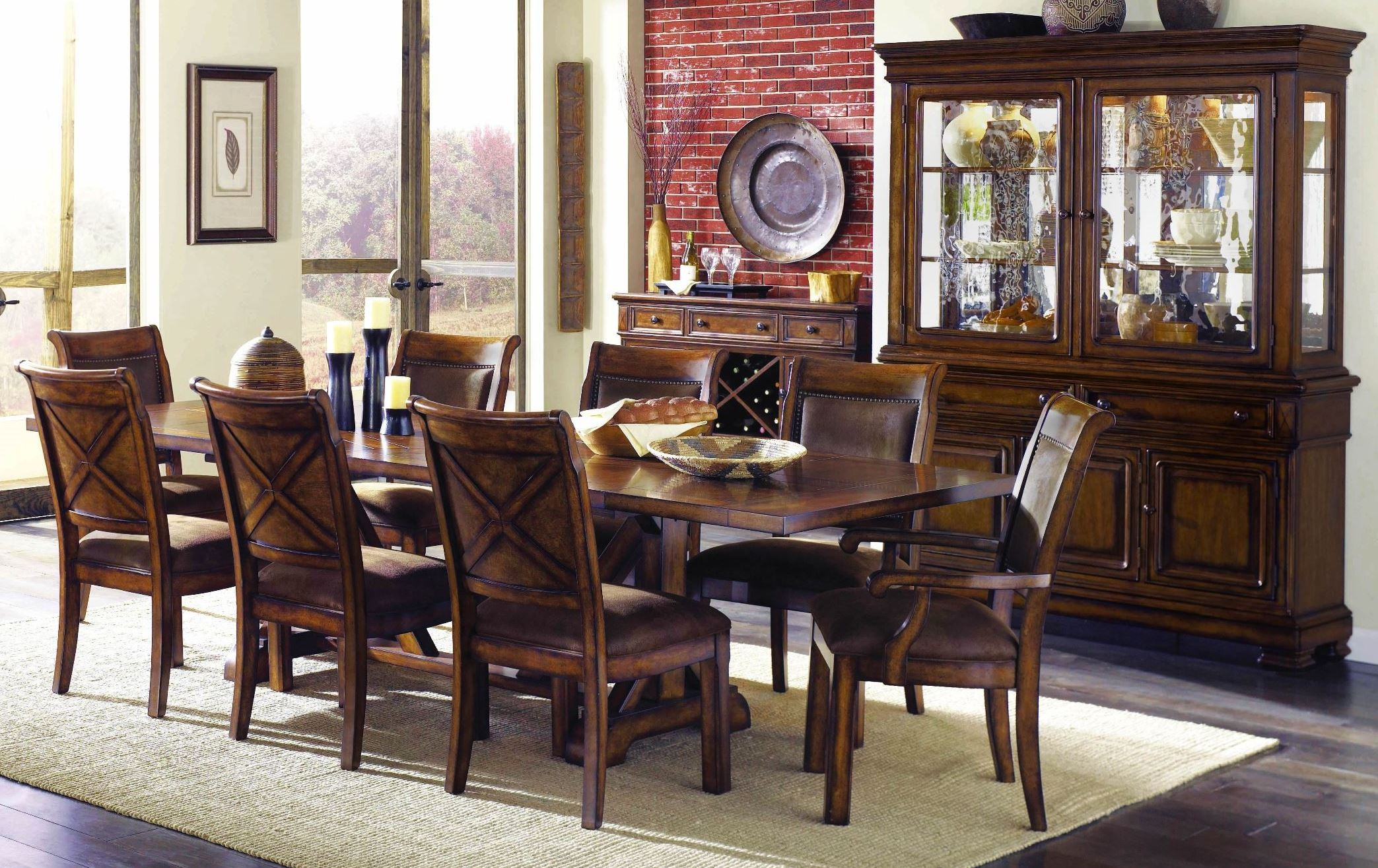 Larkspur burnished caramel extendable trestle dining room for Trestle dining room sets