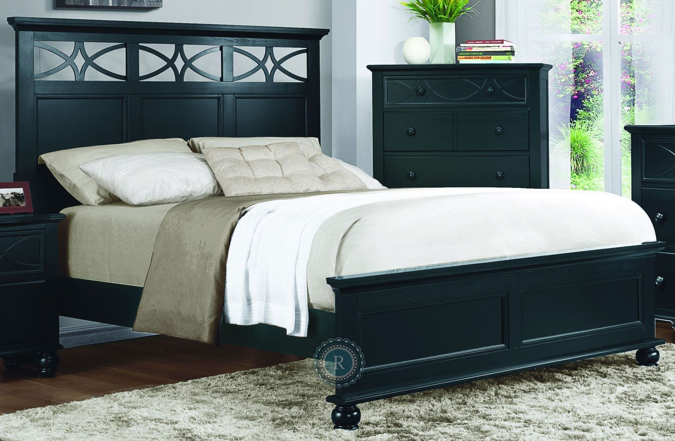 sanibel black panel bedroom set 2119bk 1 homelegance