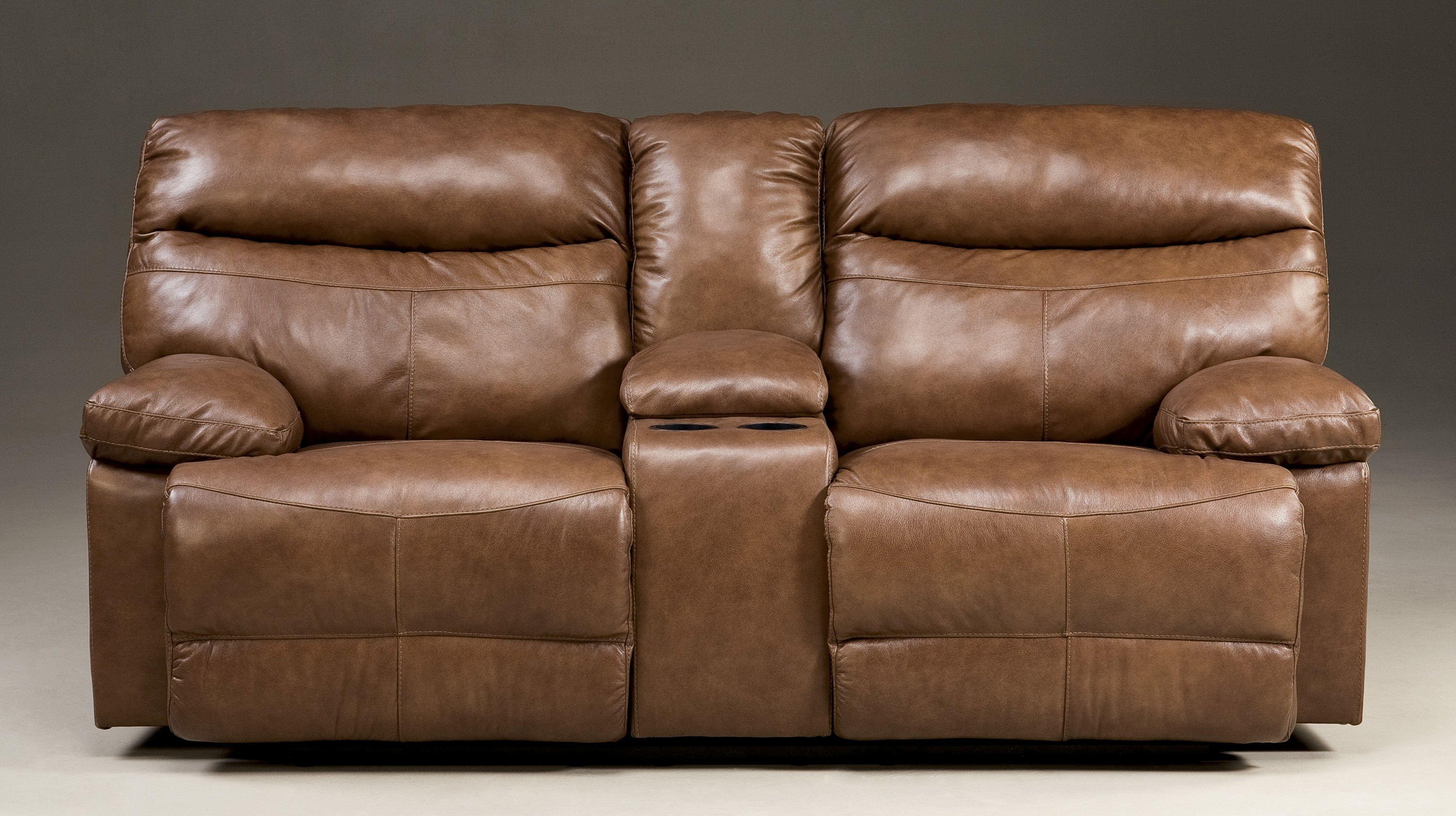 Beamard Toffee Double Reclining Power Loveseat With Console 2120096 Ashley Furniture