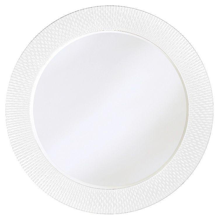 Bergman white large round mirror 2128w howard elliot for Large white round mirror