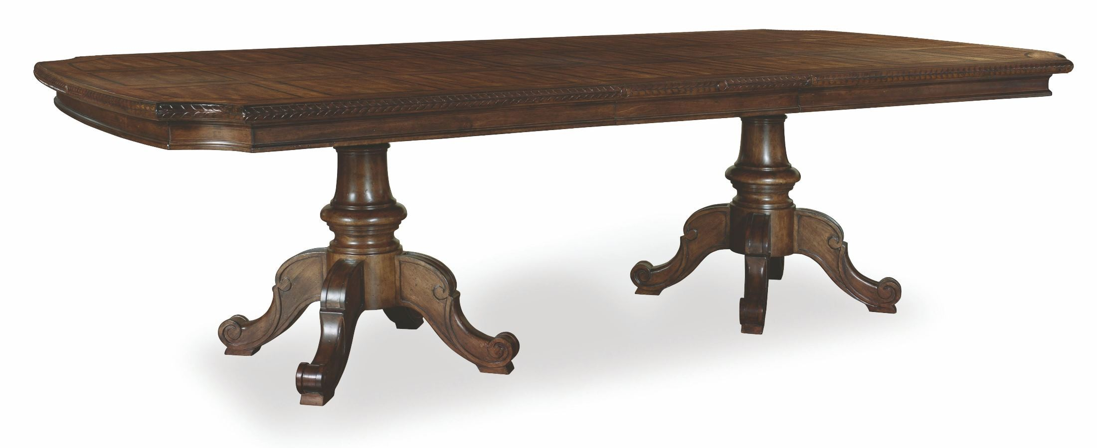 chateaux walnut double pedestal extendable dining table from art 213221 1812 coleman furniture. Black Bedroom Furniture Sets. Home Design Ideas
