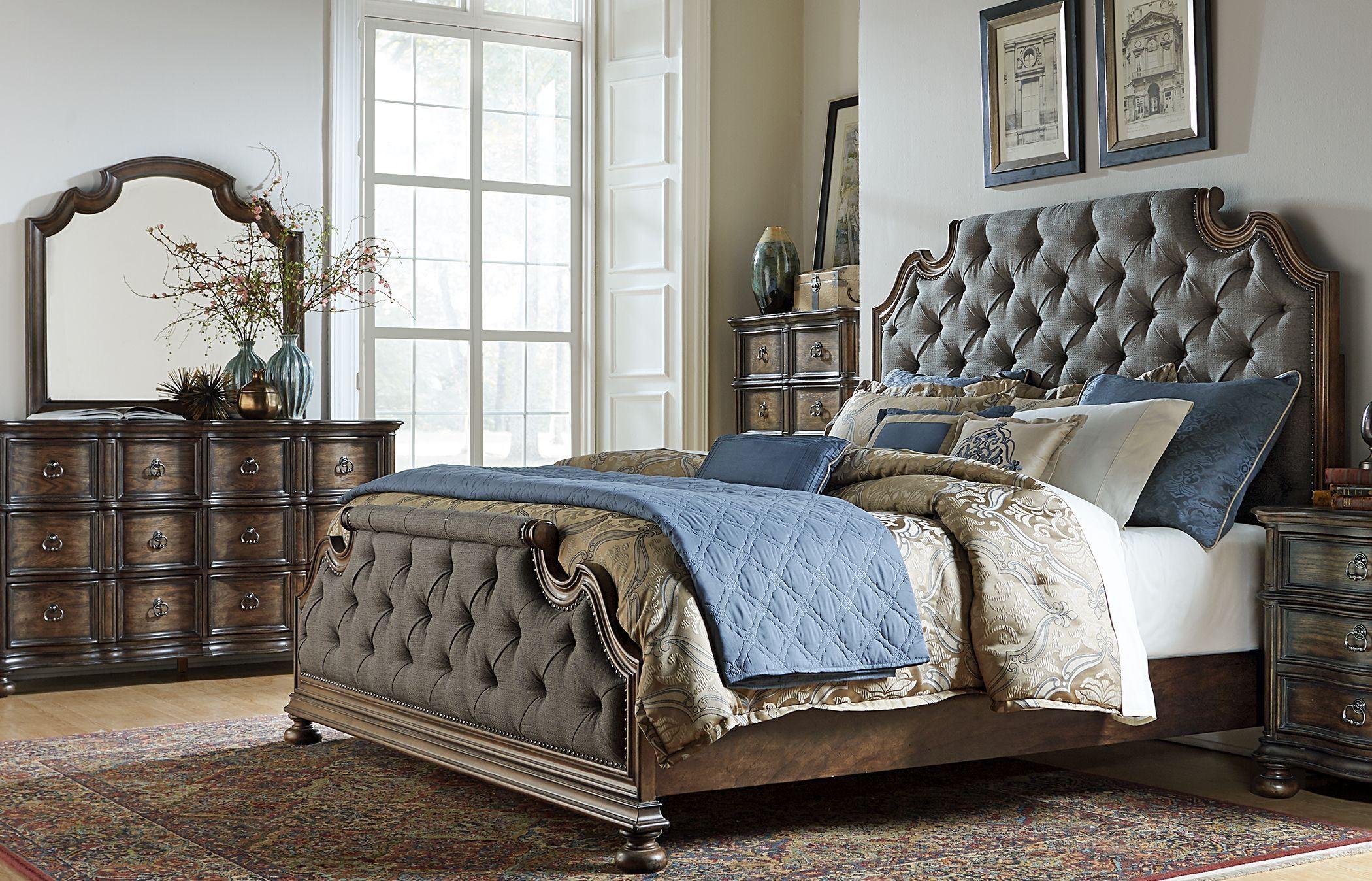 tuscan valley weathered oak upholstered panel bedroom set from liberty 215 br qub coleman. Black Bedroom Furniture Sets. Home Design Ideas
