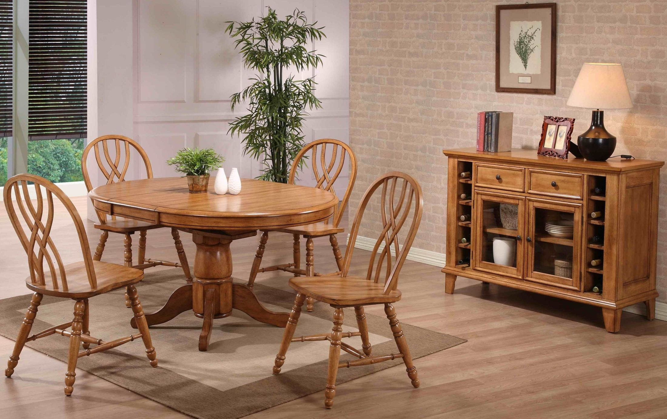 rustic oak single pedestal dining room set 2150 04 t b eci furniture