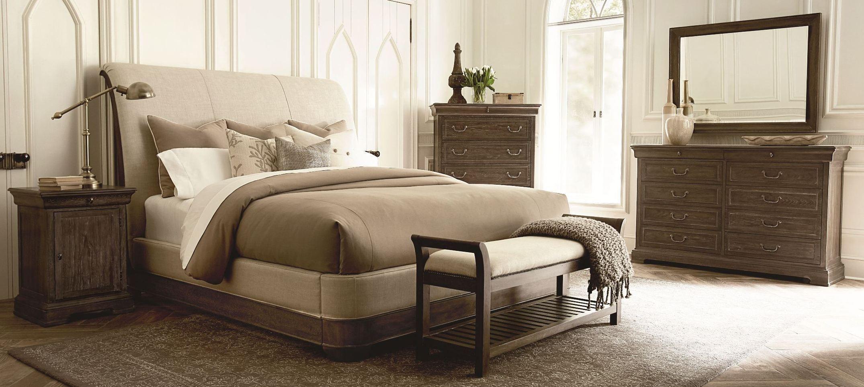 St germain upholstered sleigh bedroom set from art for Sleigh bedroom set