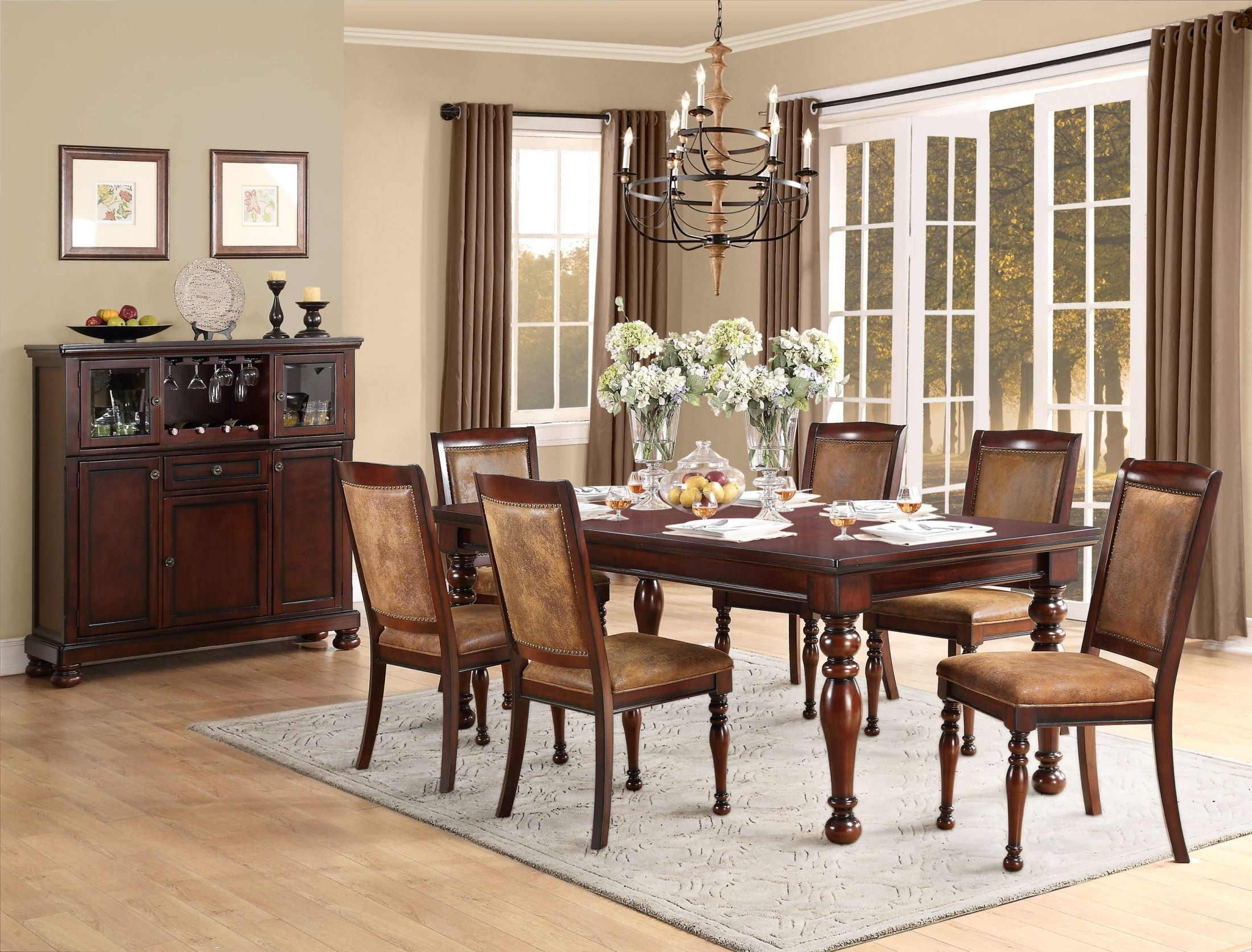 Cumberland Rich Medium Brown Extendable Dining Room Set From Homelegance 215