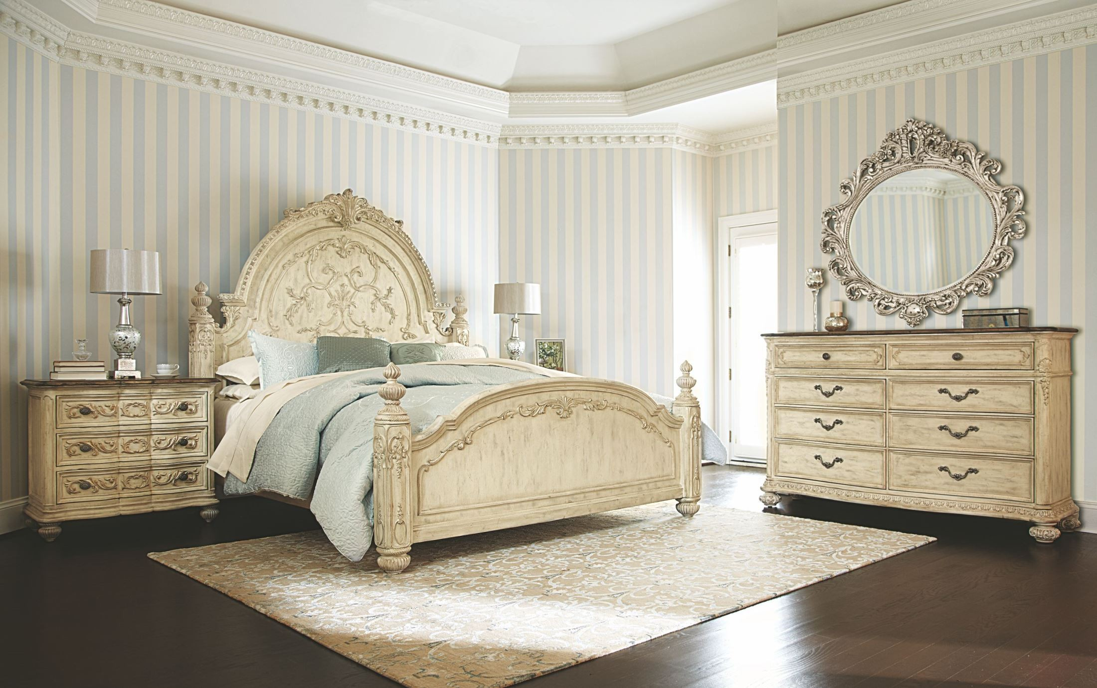 Jessica Mcclintock Boutique White Veil King Mansion Bed