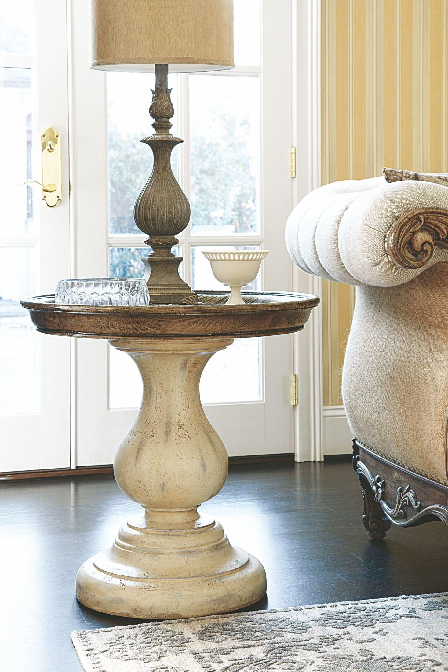 jessica mcclintock boutique white veil round pedestal end table 217 918w hammary. Black Bedroom Furniture Sets. Home Design Ideas