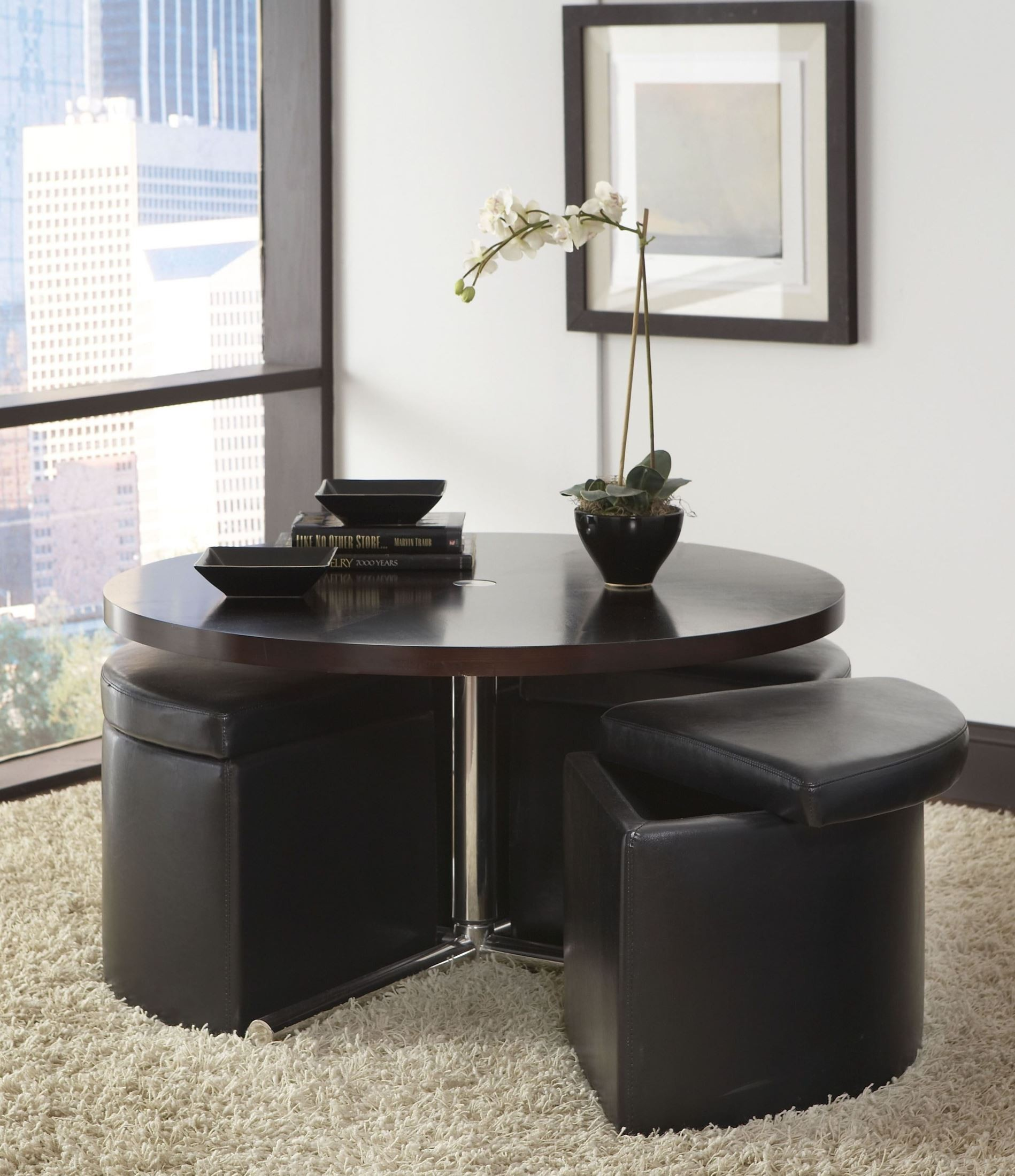Cosmo Dark Chocolate Round Wood Cocktail Table With Ottomans 21919 . Full resolution  picture, nominally Width 1898 Height 2200 pixels, picture with #455E86.