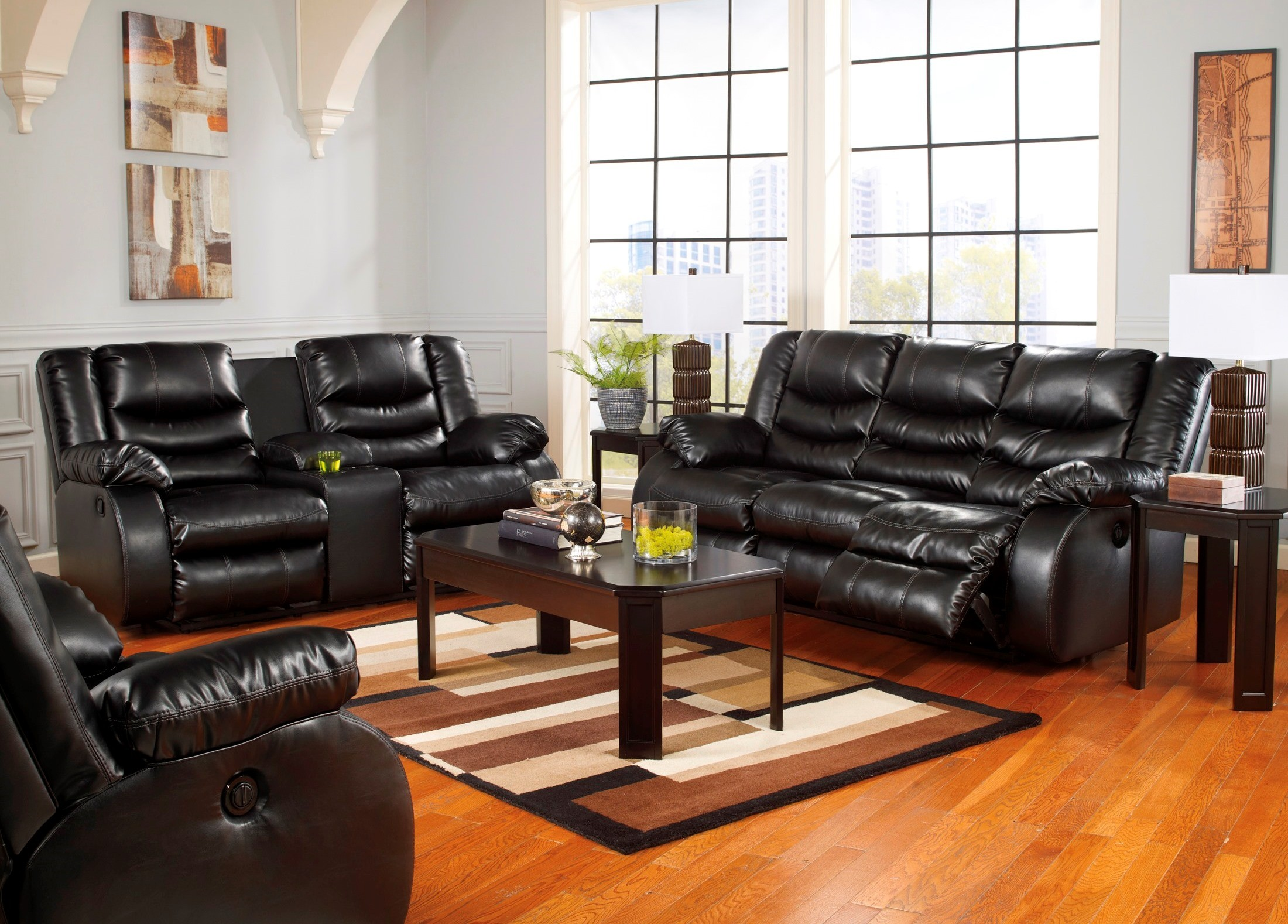 Linebacker Durablend Black Reclining Living Room Set From Ashley 95202 88 94 Coleman Furniture