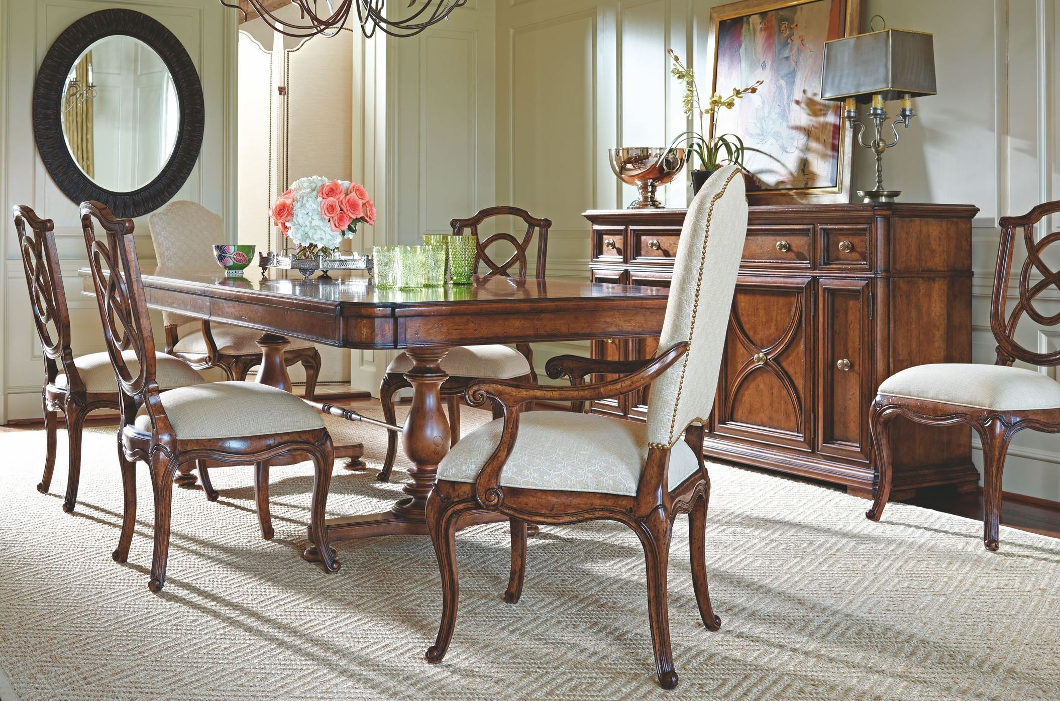 Arrondissement heirloom cherry famille pedestal dining for Cherry dining room set