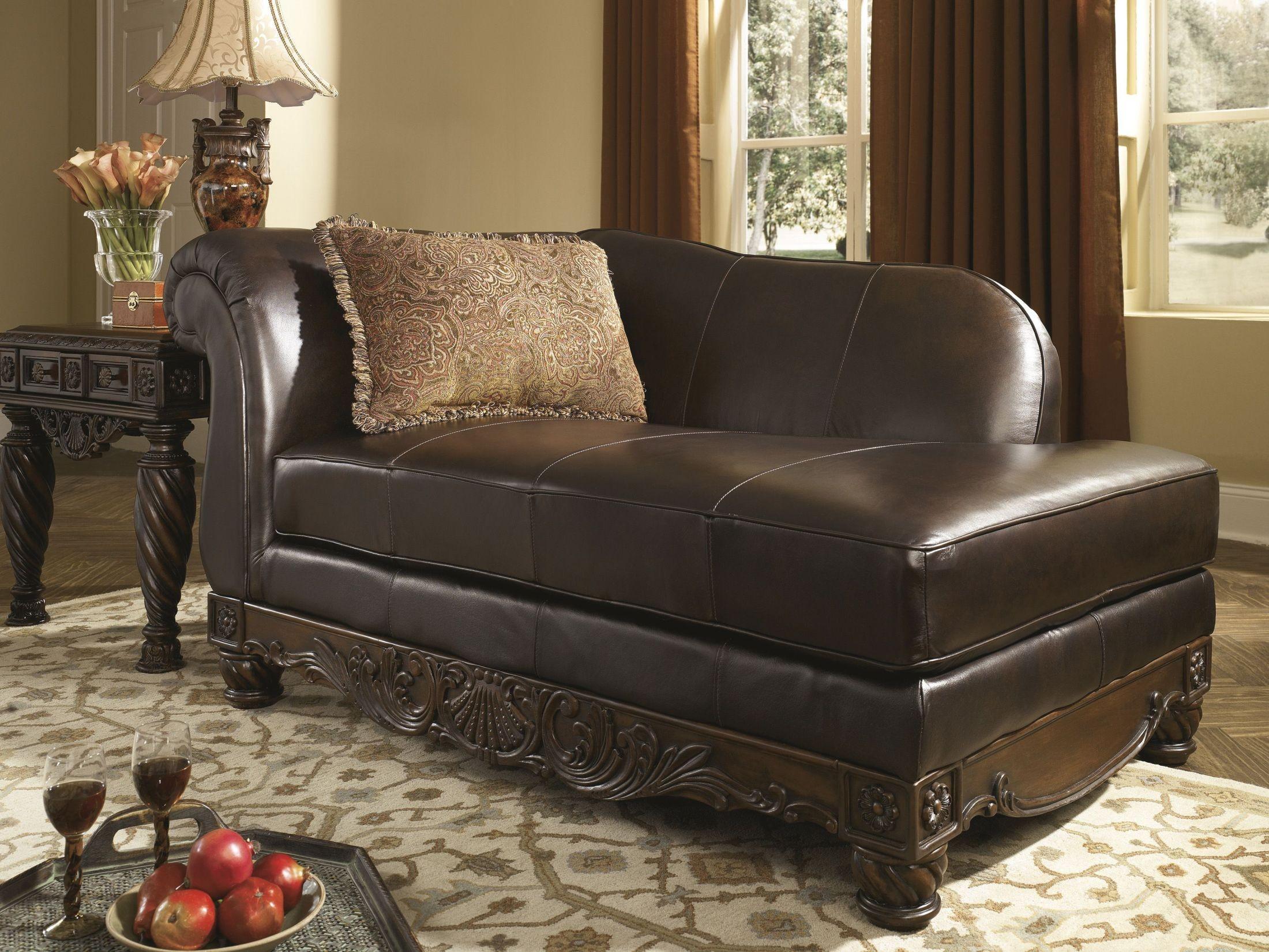 North shore dark brown laf corner chaise 2260316 living - Ashley millennium living room furniture ...