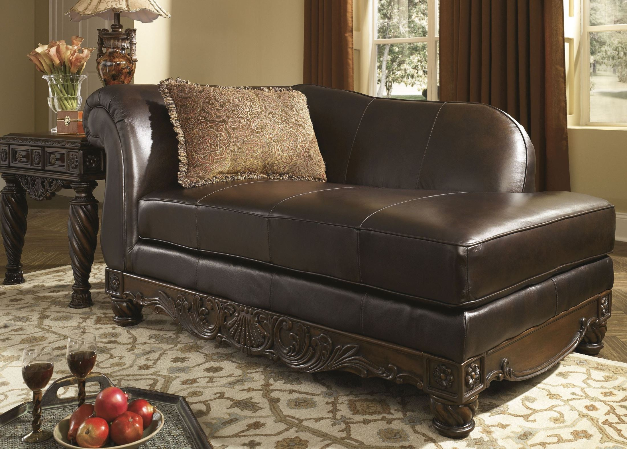 North shore dark brown living room set from ashley 22603 for Ashley furniture leather chaise
