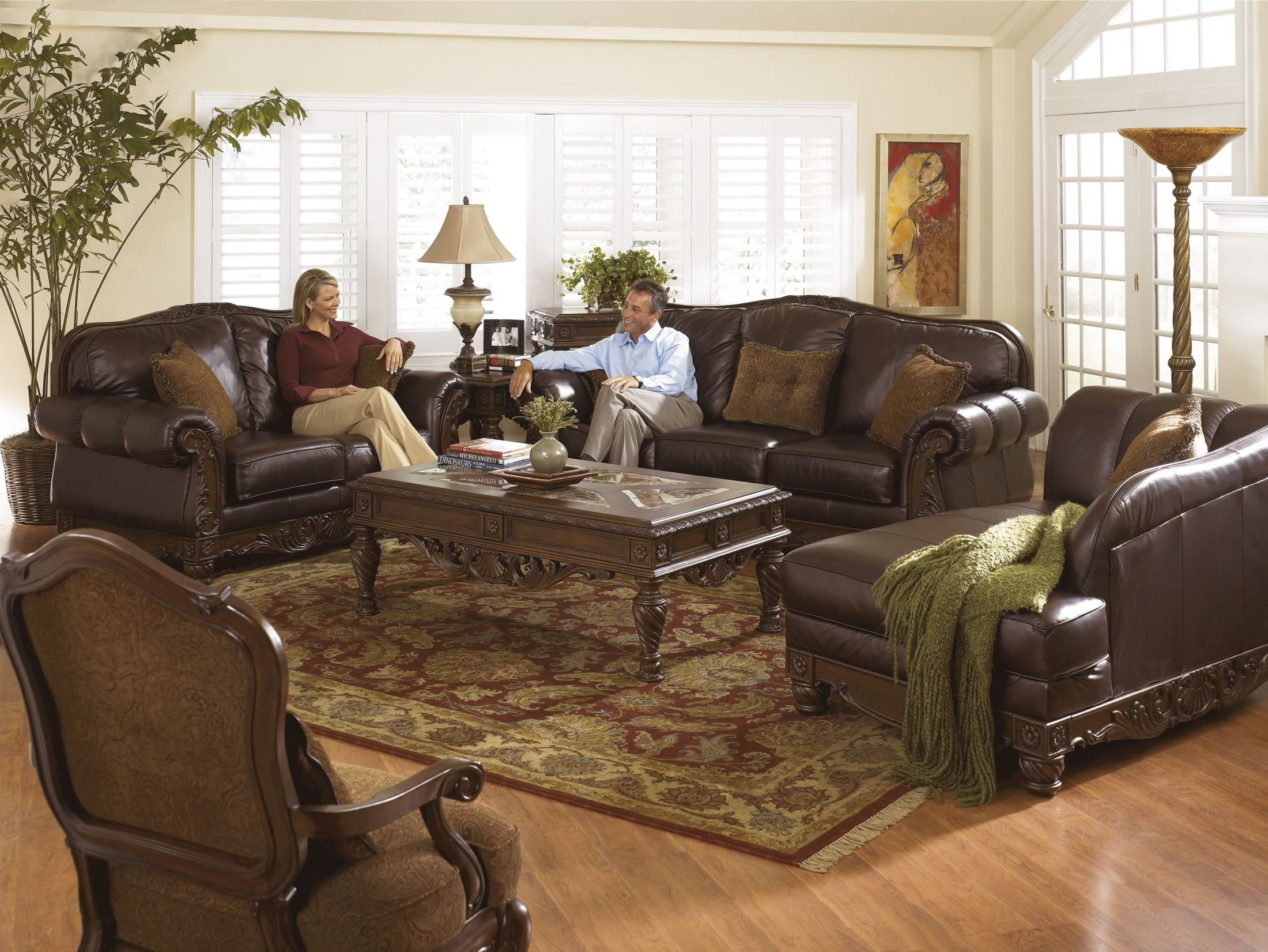 North shore dark brown laf corner chaise from ashley for Ashley north shore chaise
