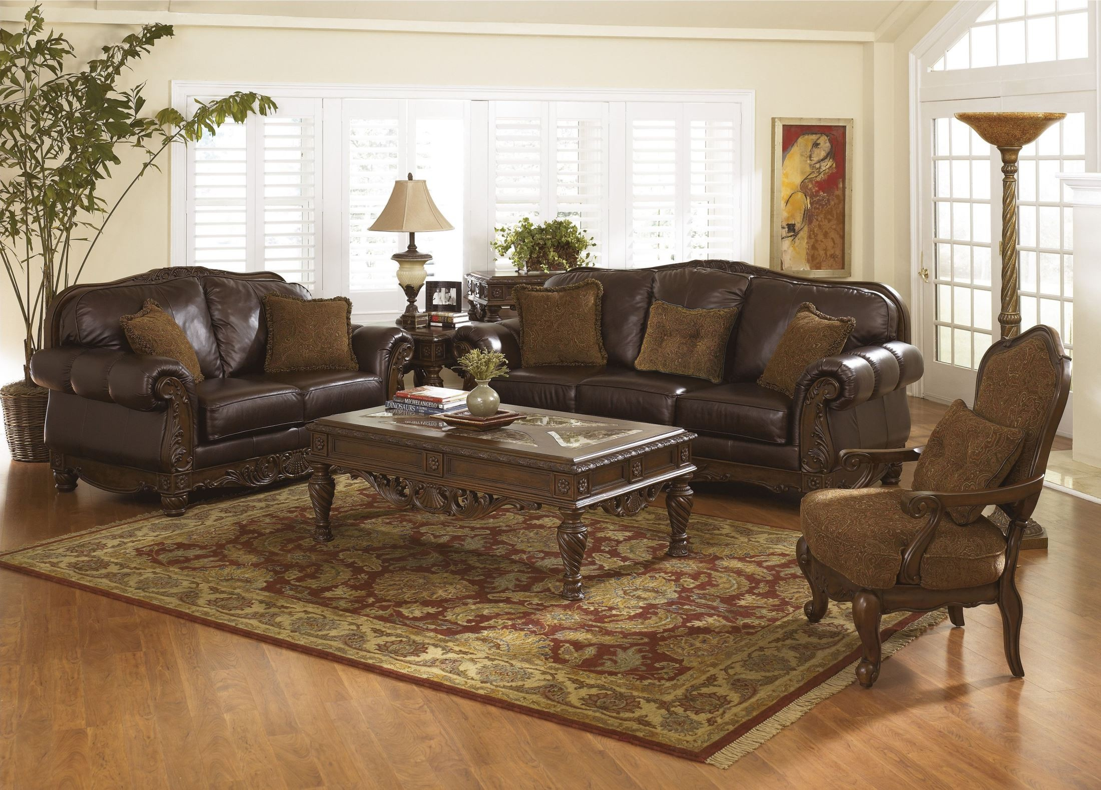 North shore dark brown loveseat from ashley 2260335 for Ashley furniture north shore chaise