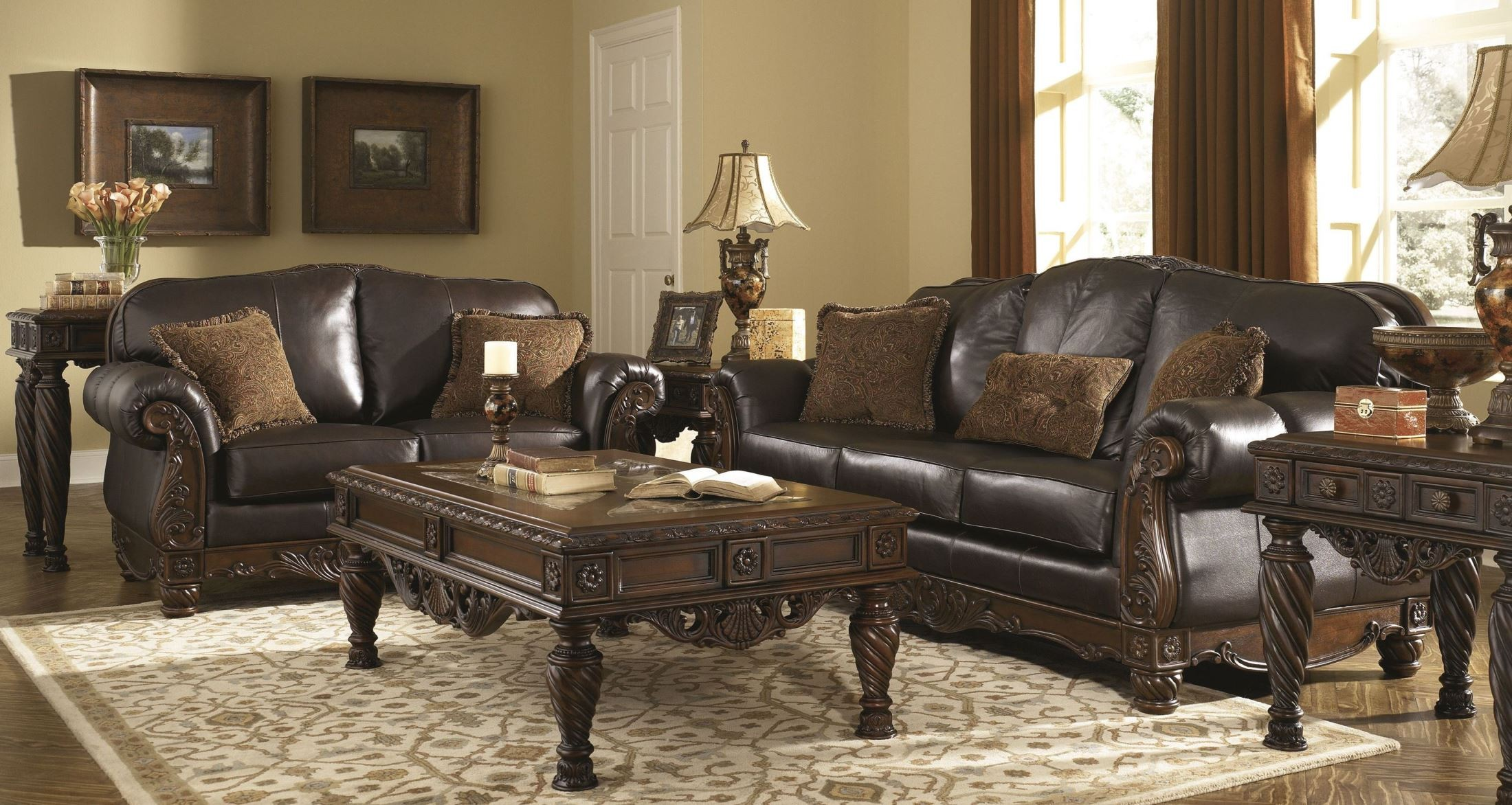 North shore dark brown living room set from ashley 22603 - Black and brown living room furniture ...