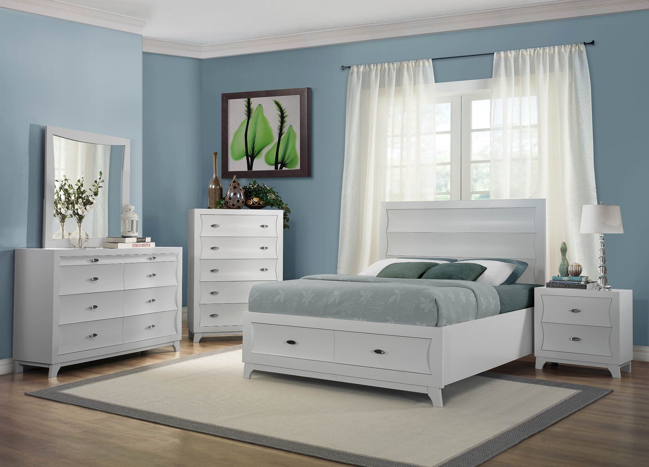Zandra white platform storage bedroom set from homelegance for White full bedroom furniture sets
