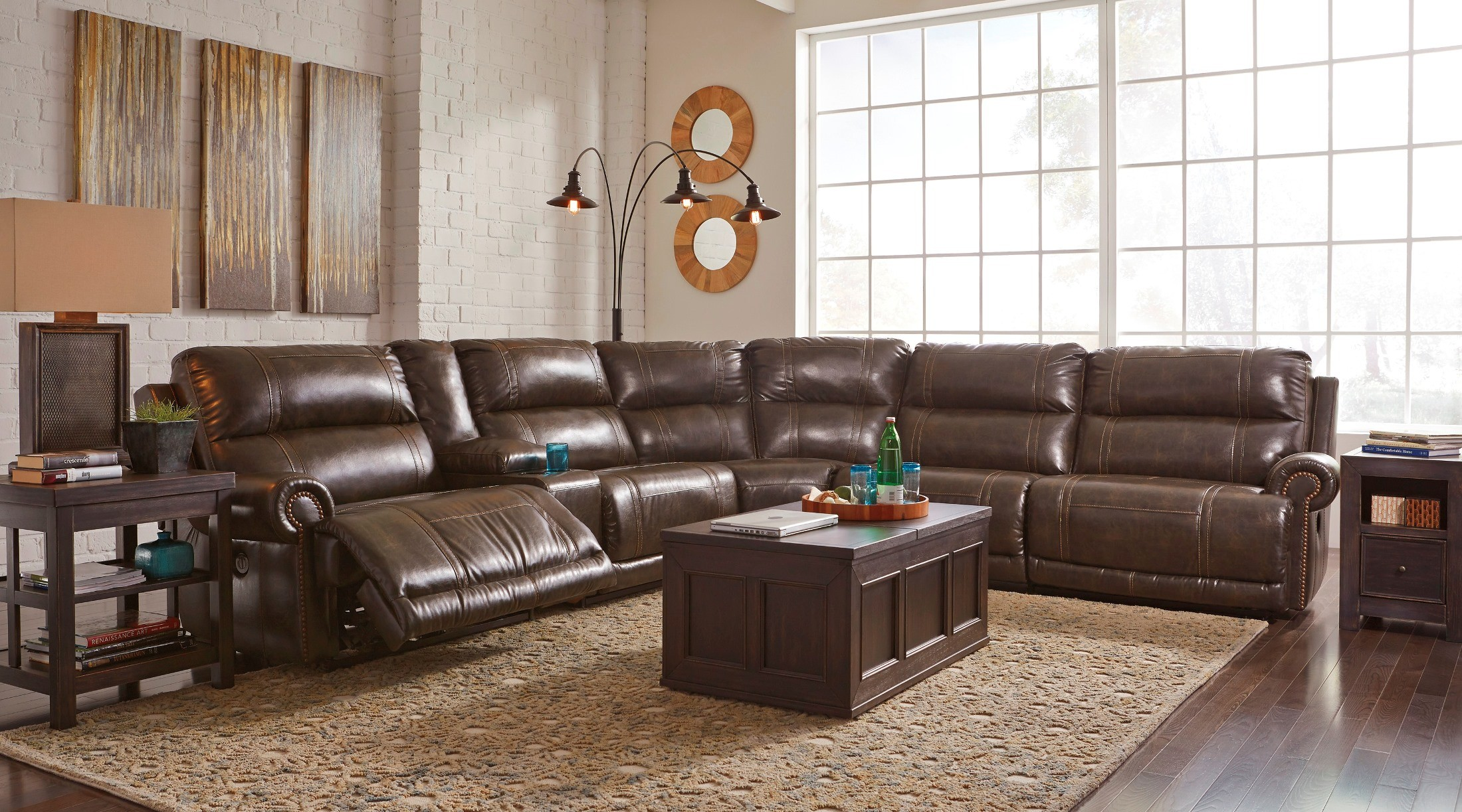 Dak Durablend Antique Reclining Sectional From Ashley 2270040 Coleman Furniture