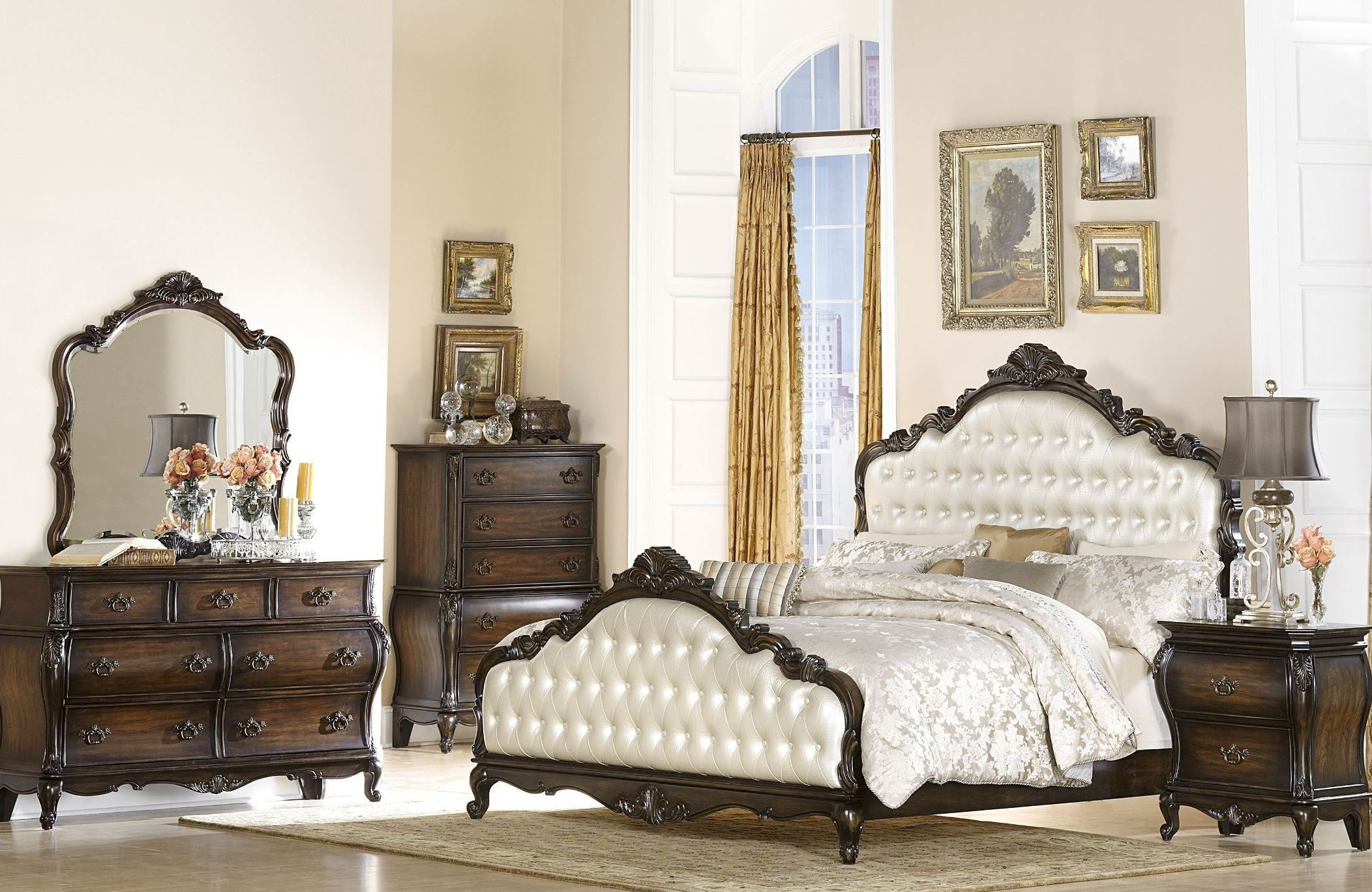 bayard park dark brown cherry panel bedroom set from homelegance 2274