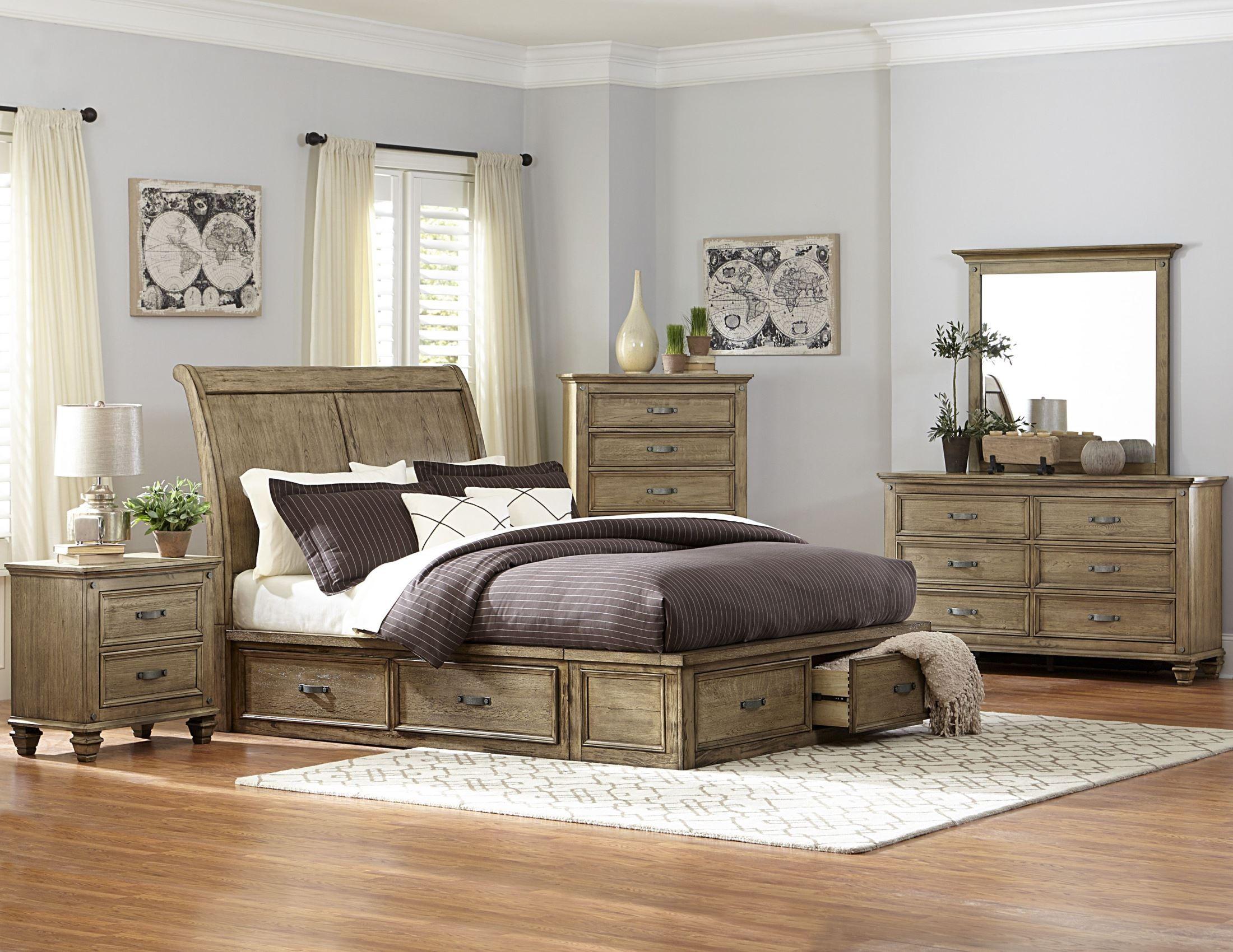 Sylvania driftwood king platform storage bed from - Platform bedroom sets with storage ...