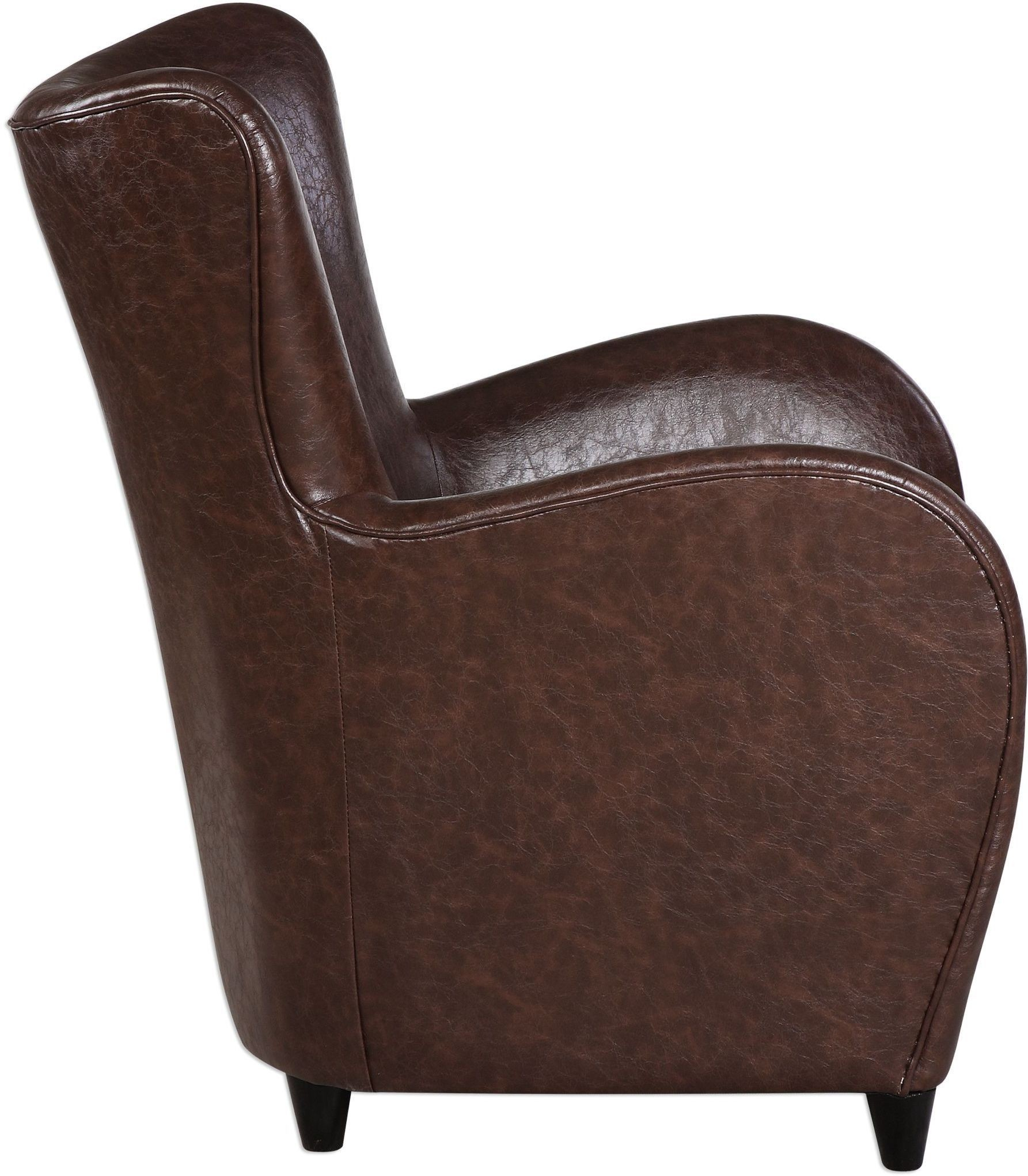 Lyric brown leather accent chair 23335 uttermost for Accent chair with brown leather sofa