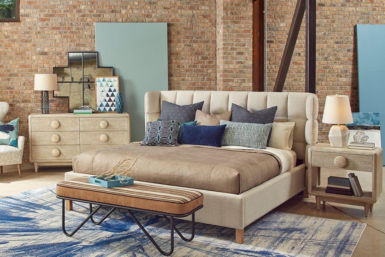 epicenters austin cream north loop upholstered shelter bedroom set