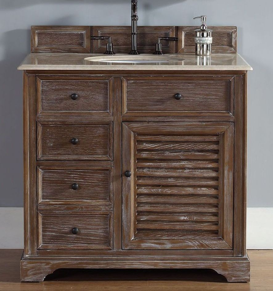 36 Savannah Driftwood Galala Beige Top Vanity Cabinet With Sink From James Martin Coleman