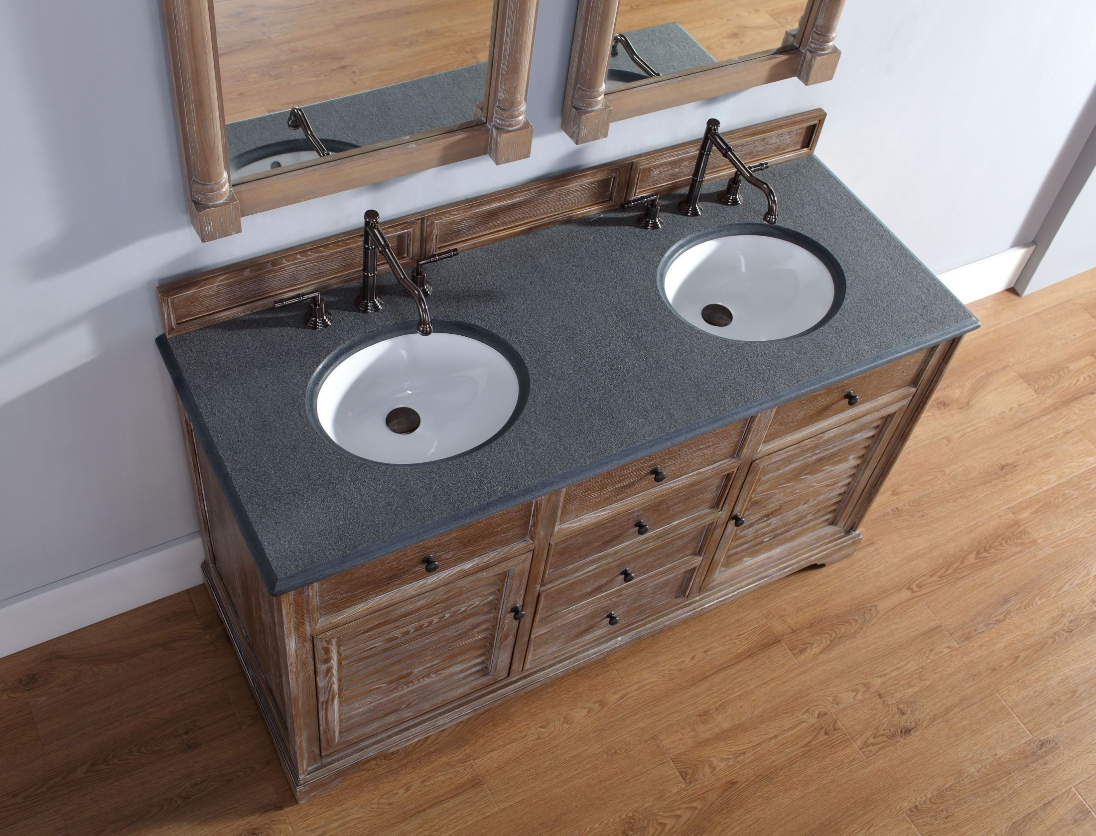60 Savannah Double Driftwood Black Rustic Top Vanity Cabinet With Sink From James Martin