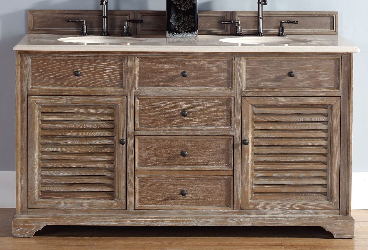 60 Savannah Double Driftwood Galala Beige Top Vanity Cabinet With Sink From James Martin