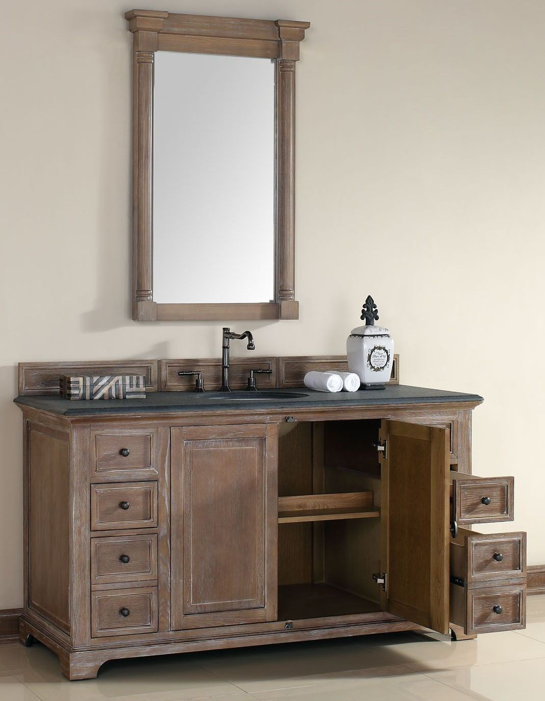 60 Providence Driftwood Black Rustic Top Vanity Cabinet With Sink From James Martin Coleman