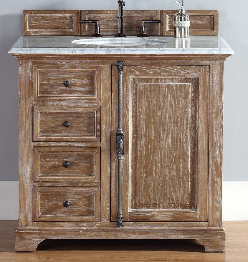36 Providence Driftwood Carrera White Top Vanity Cabinet With Sink From James Martin Coleman