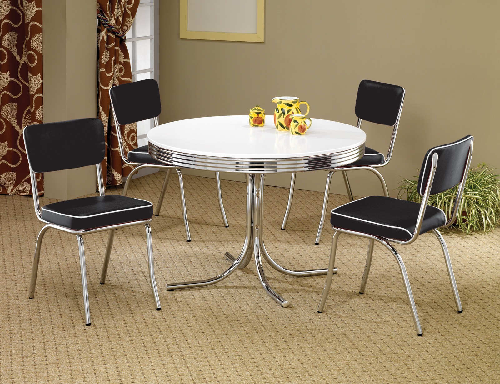 dining sets 2388 retro chrome round retro dining room set