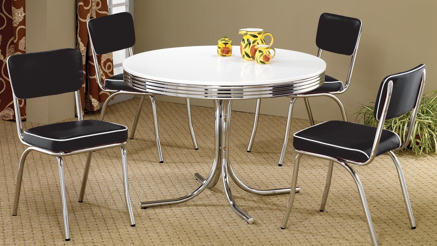 2388 Retro Chrome Round Retro Dining Room Set From Coaster