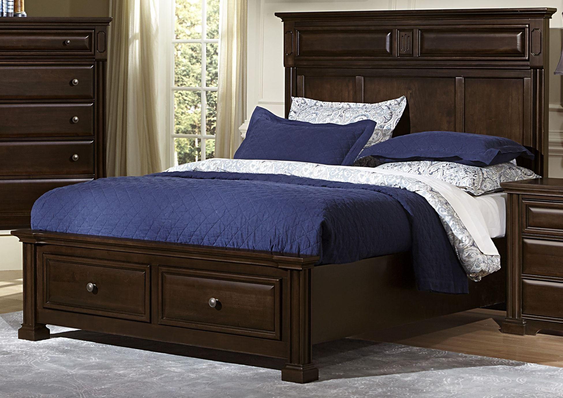 Knightsbridge Dark Cherry Mansion Storage Bedroom Set From Vaughan Bassett Coleman Furniture