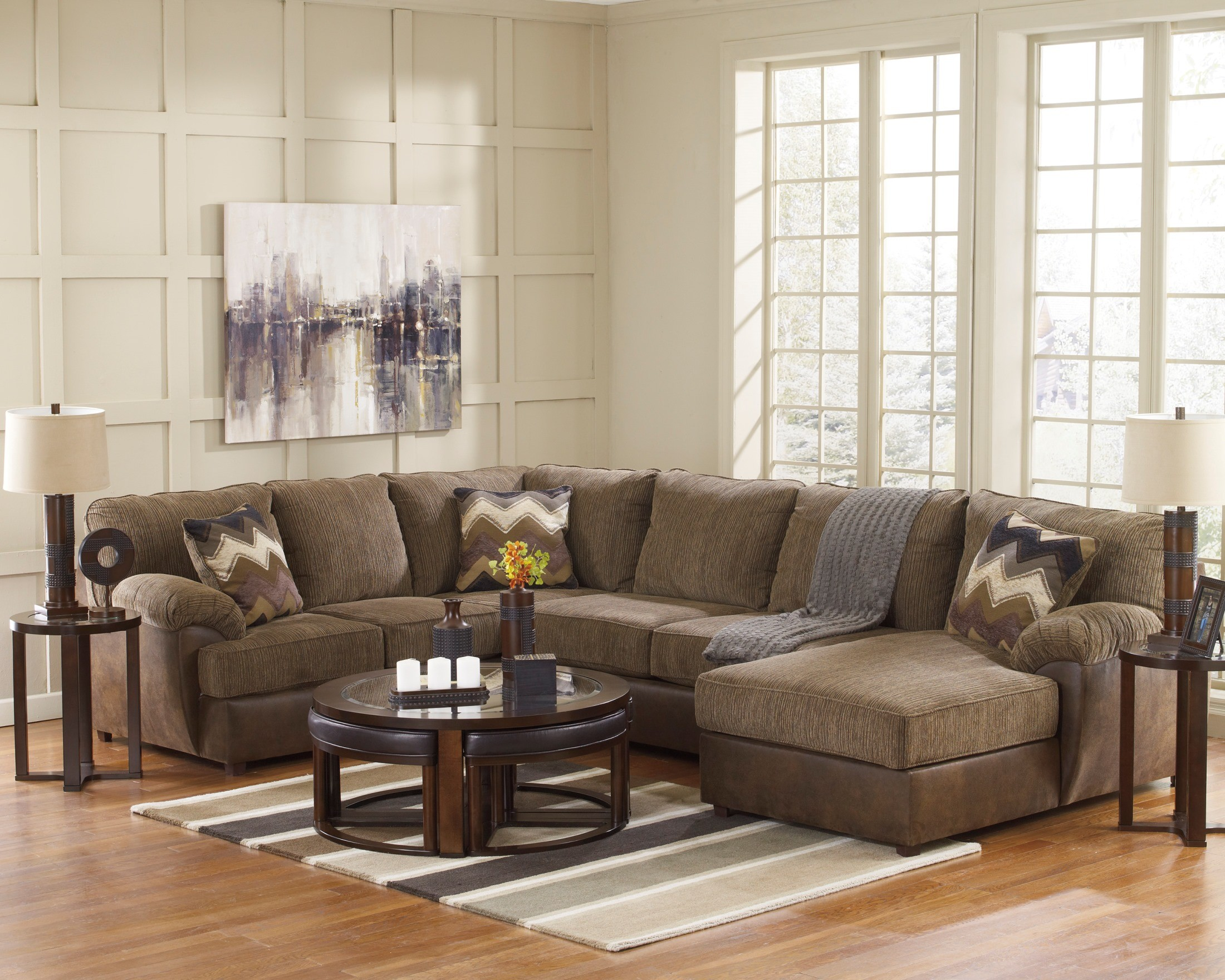 Cladio Hickory RAF Sectional from Ashley 17 66