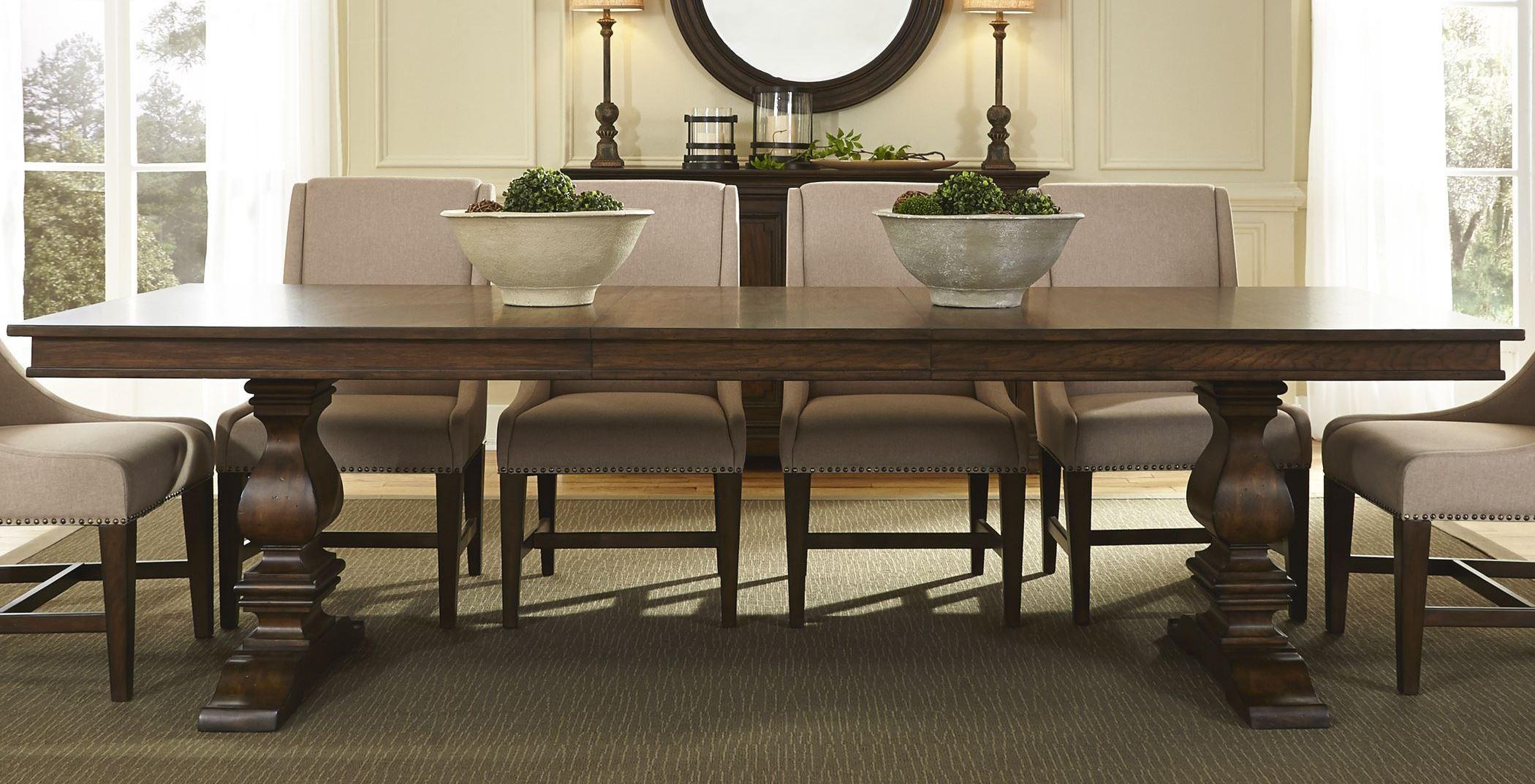 Armand antique brownstone extendable trestle dining table for Trestle dining table