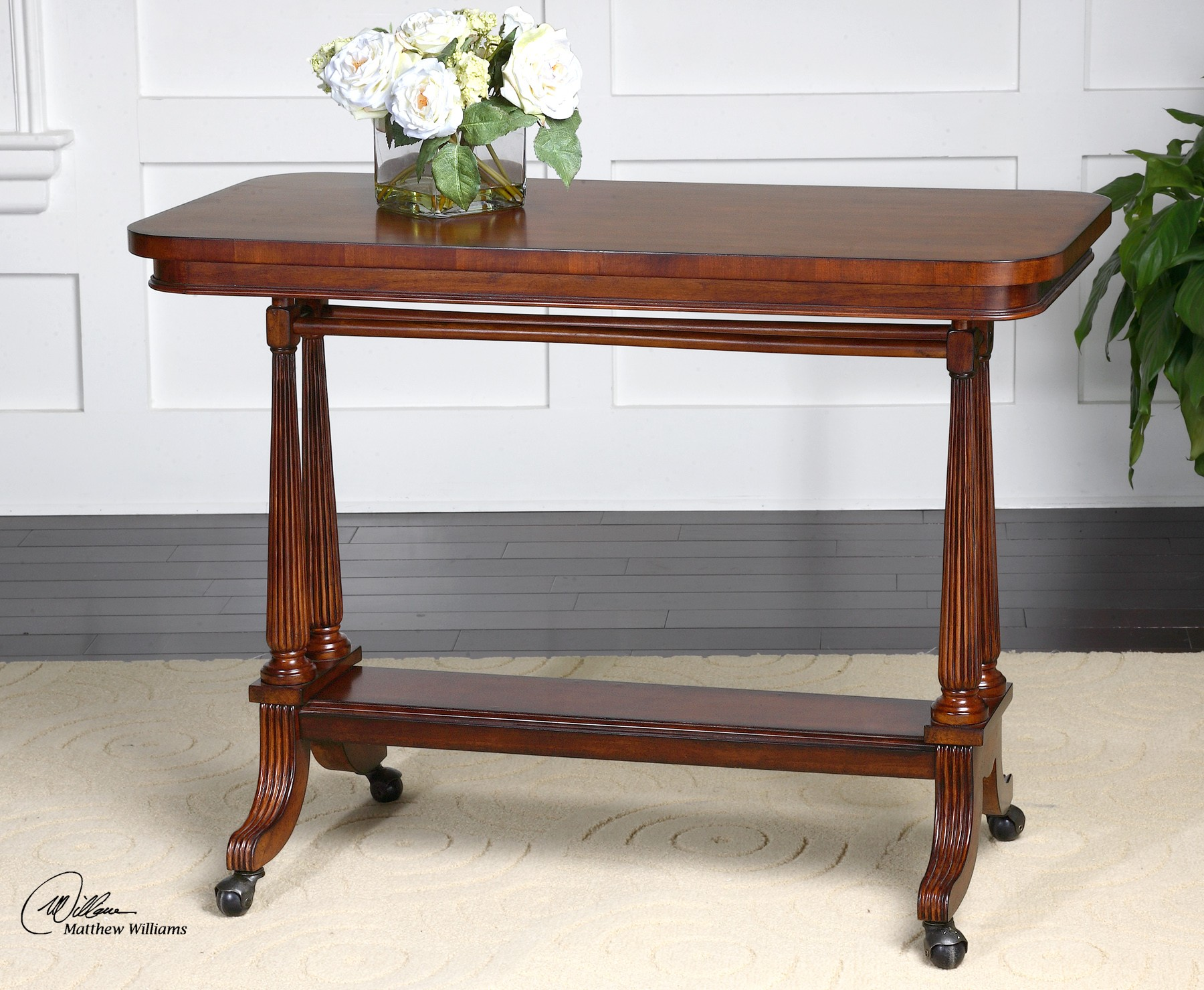 Cormac cherry sofa table 24284 uttermost furniture for Sofa table cherry
