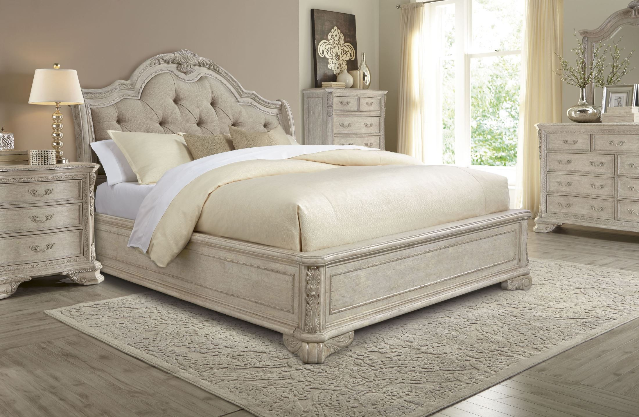 Renaissance Dove Grey Sleigh Upholstered Bedroom Set From Art 243125 2617 Coleman Furniture