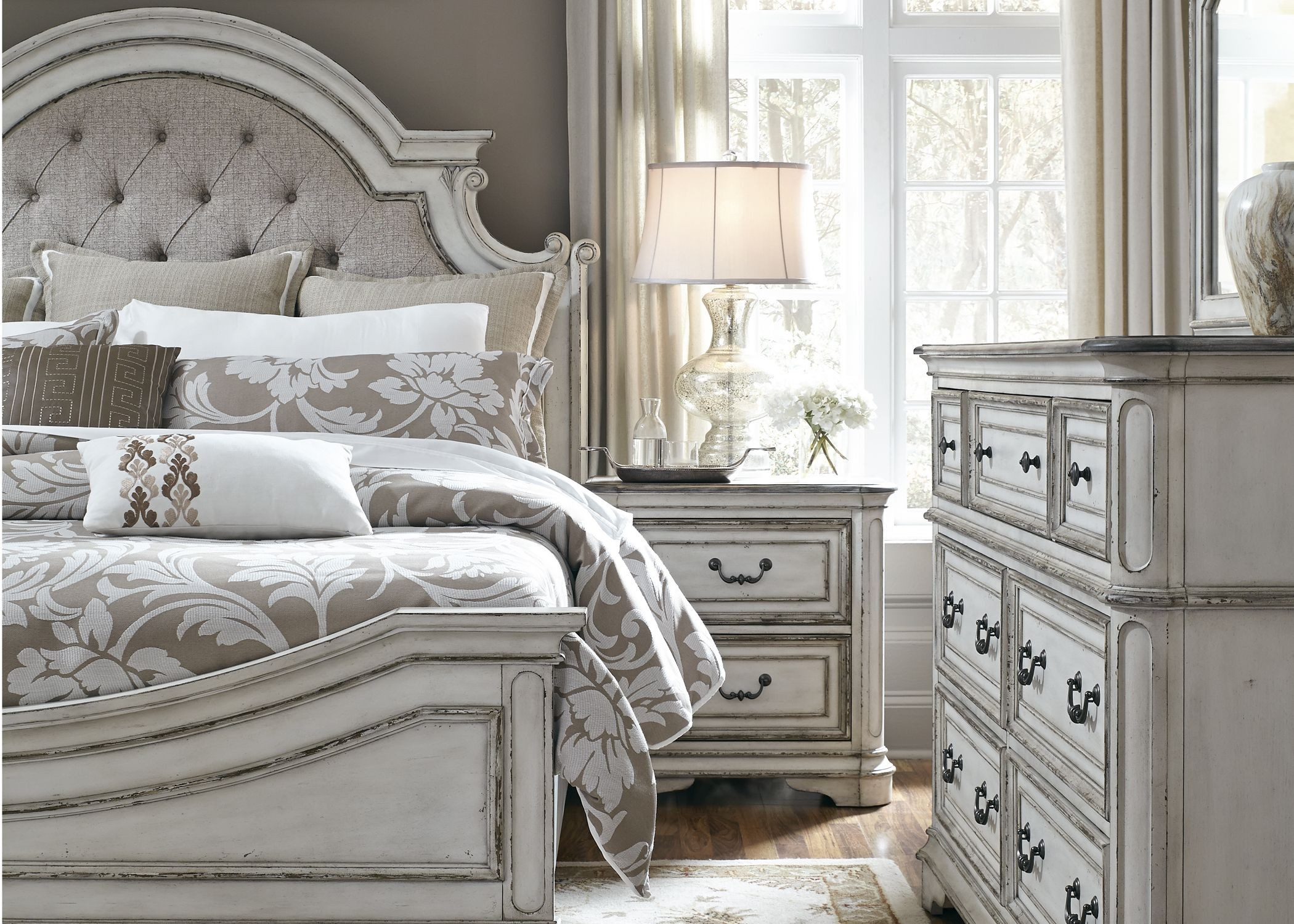 Magnolia manor antique white upholstered panel bedroom set for White bed set furniture