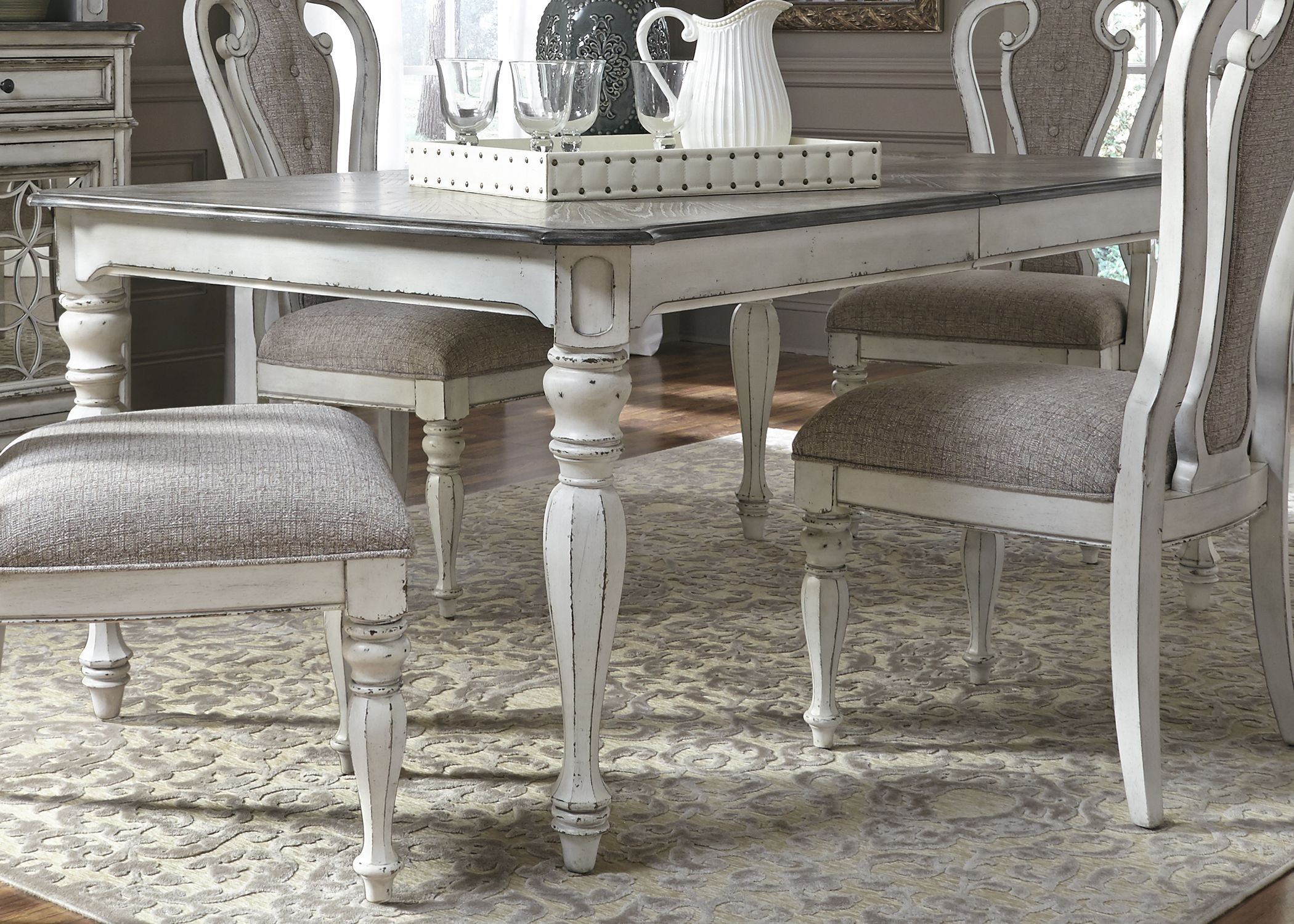 magnolia manor antique white extendable rectangular dining table 244 t4408 liberty. Black Bedroom Furniture Sets. Home Design Ideas